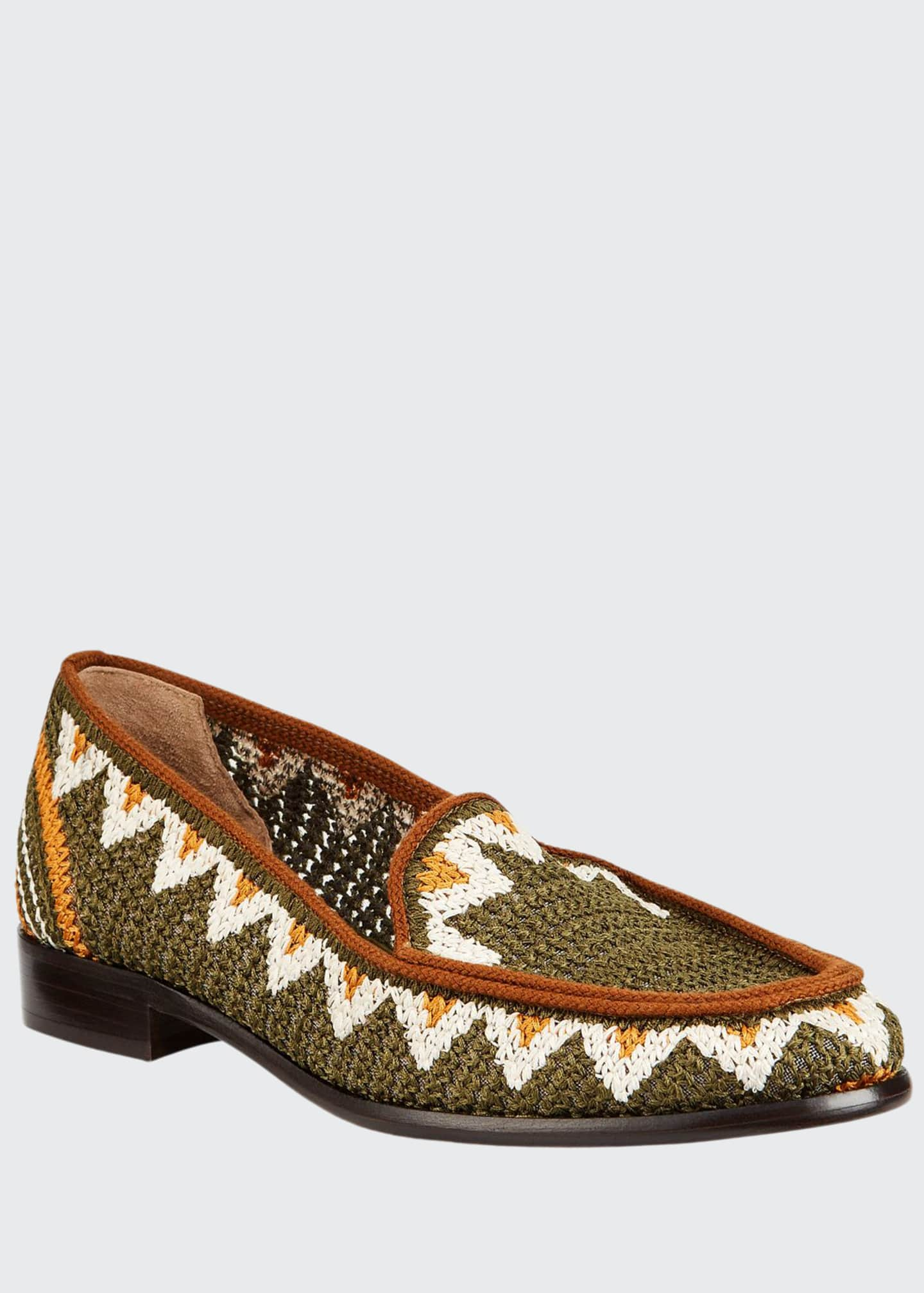 Tabitha Simmons Blakie Sol Woven Loafers, Olive