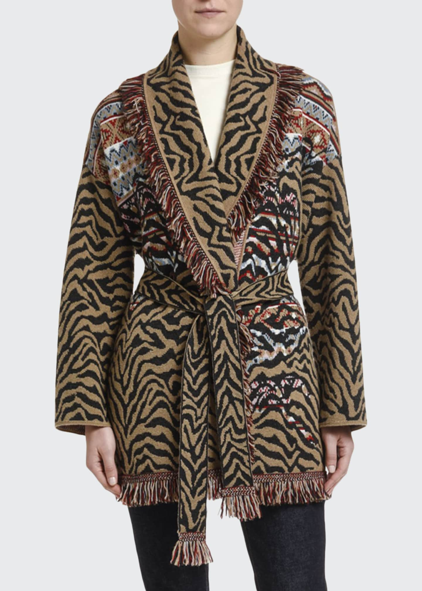 Alanui Leopard & Fair Isle Wool-Cashmere Wrap Cardigan