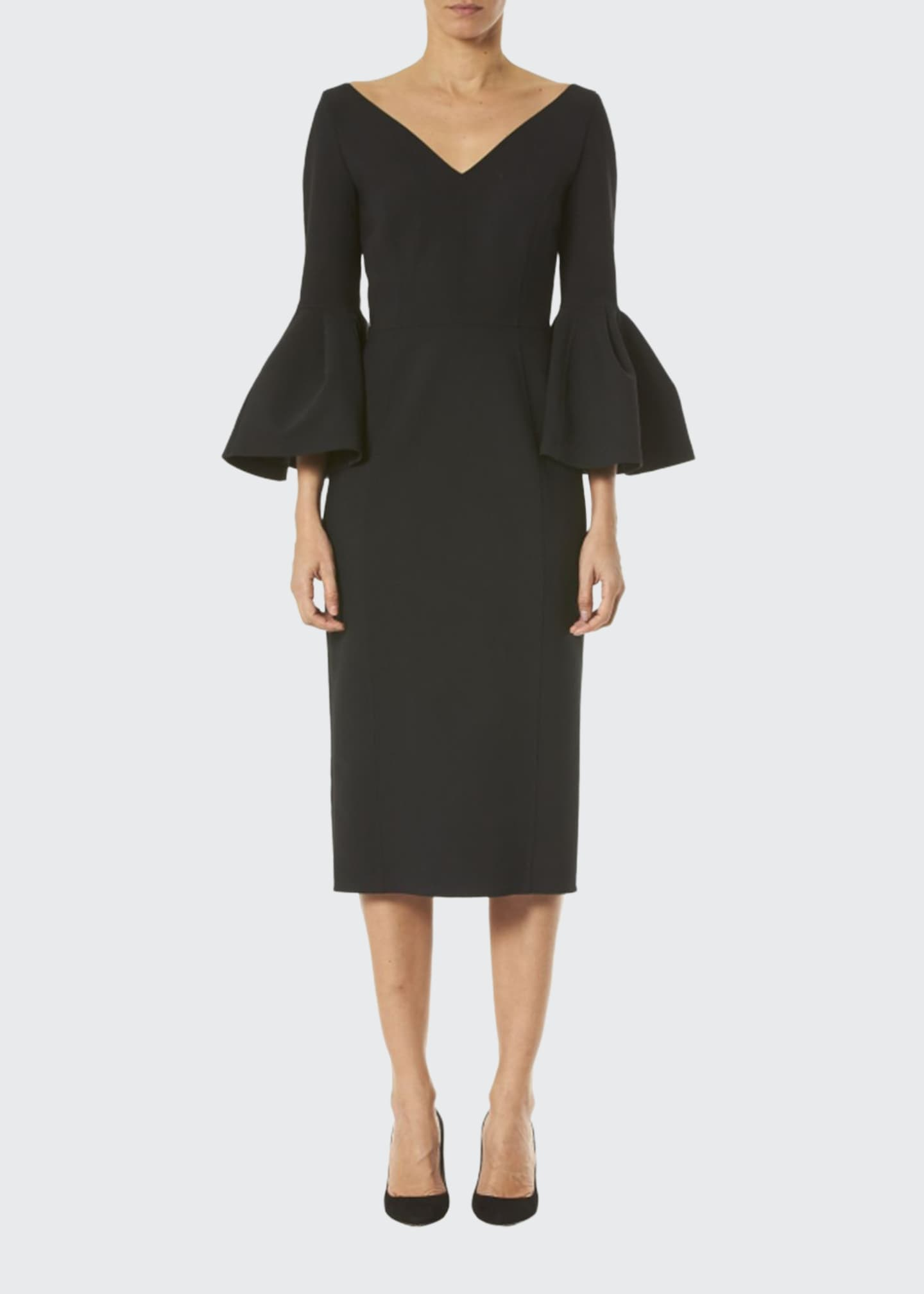 Image 1 of 2: Open V-Neck Bell-Sleeve Dress
