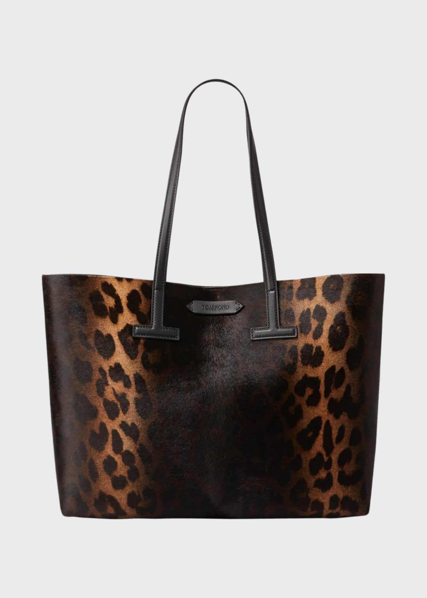 Image 1 of 3: Small Leopard T Tote Bag
