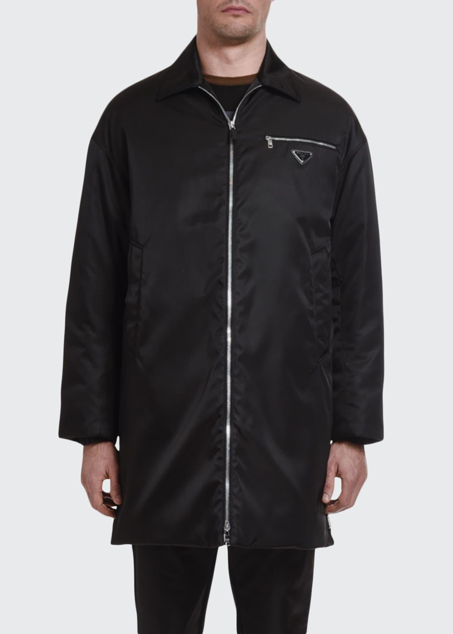 Prada Men's Nylon Raincoat with Two-Zip Front