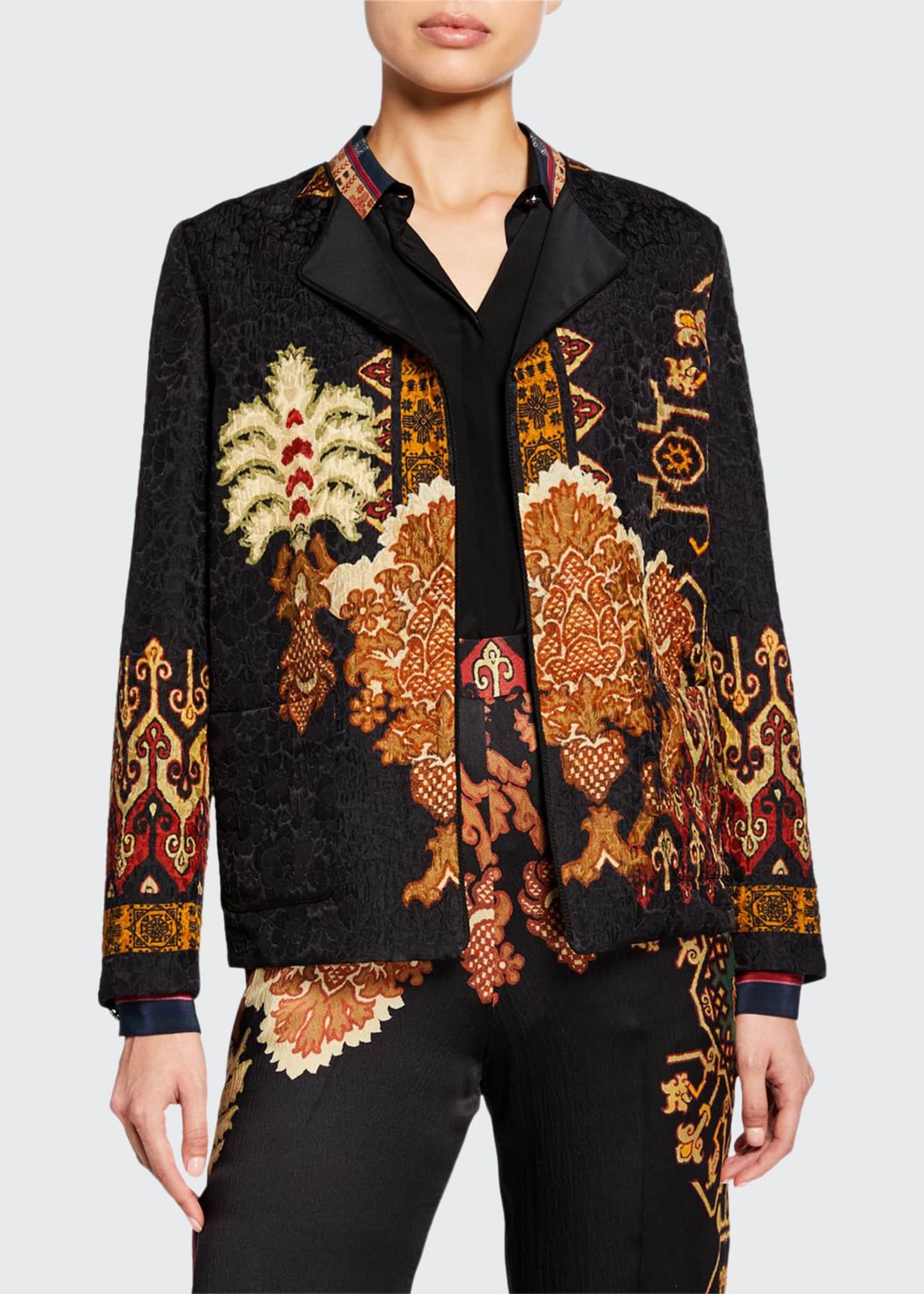 Etro Neo-Nomad Hammered Satin Patchwork Jacket