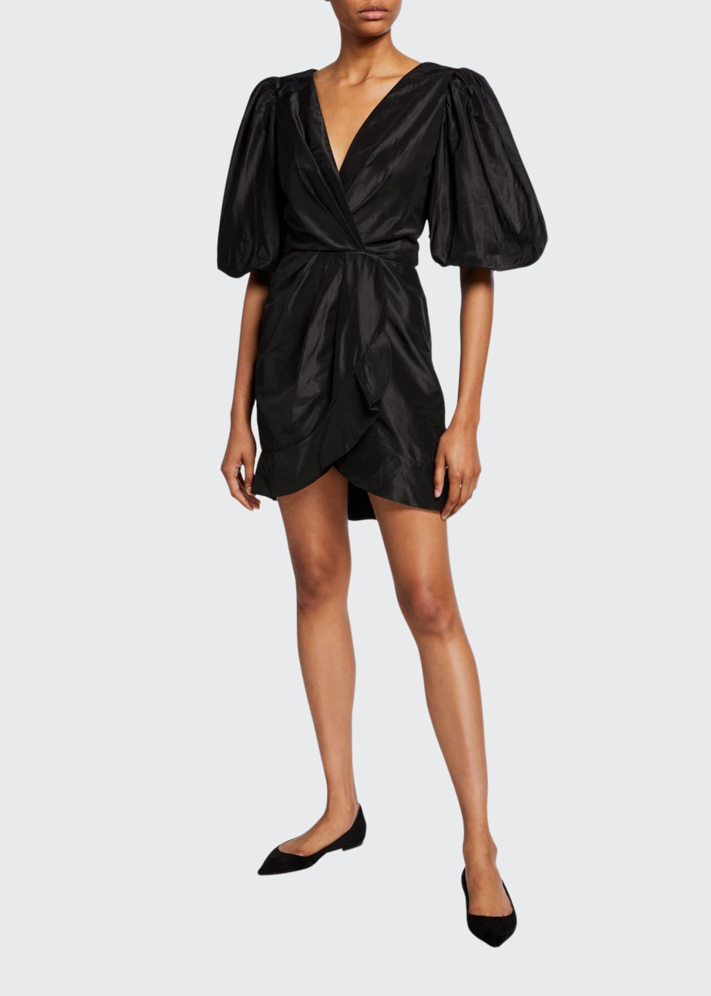 Johanna Ortiz Puff-Sleeve Gathered Taffeta Mini Dress