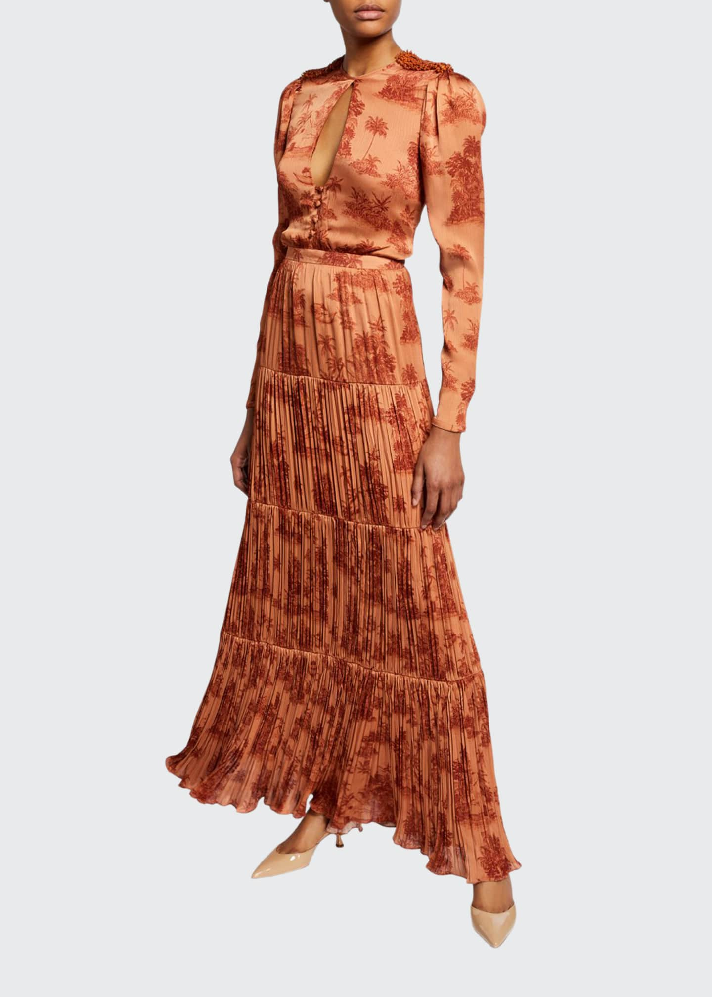Johanna Ortiz Palm-Embroidered Pleated-Georgette Dress