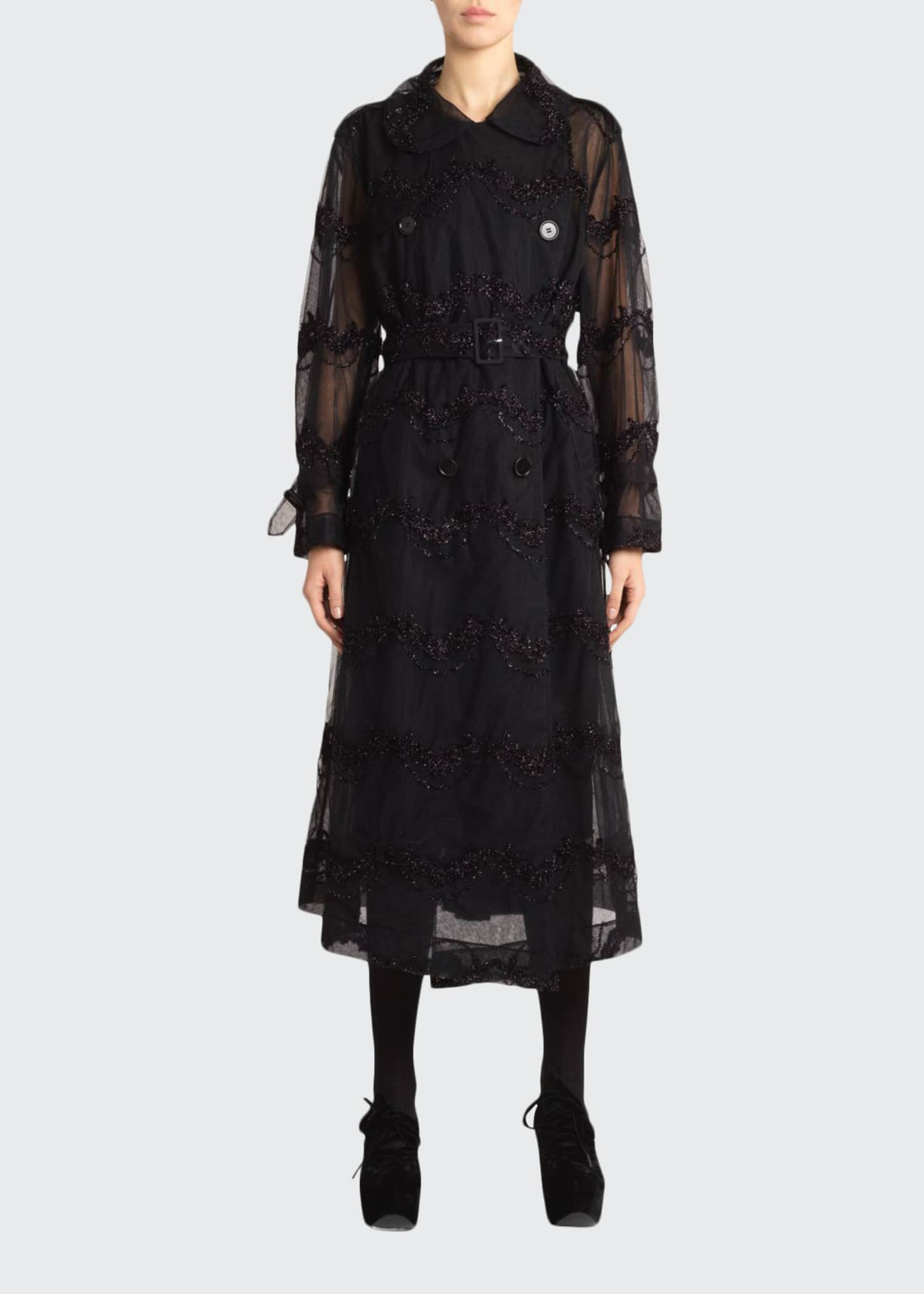 Simone Rocha Beaded-Tulle Double-Breasted Trench Coat