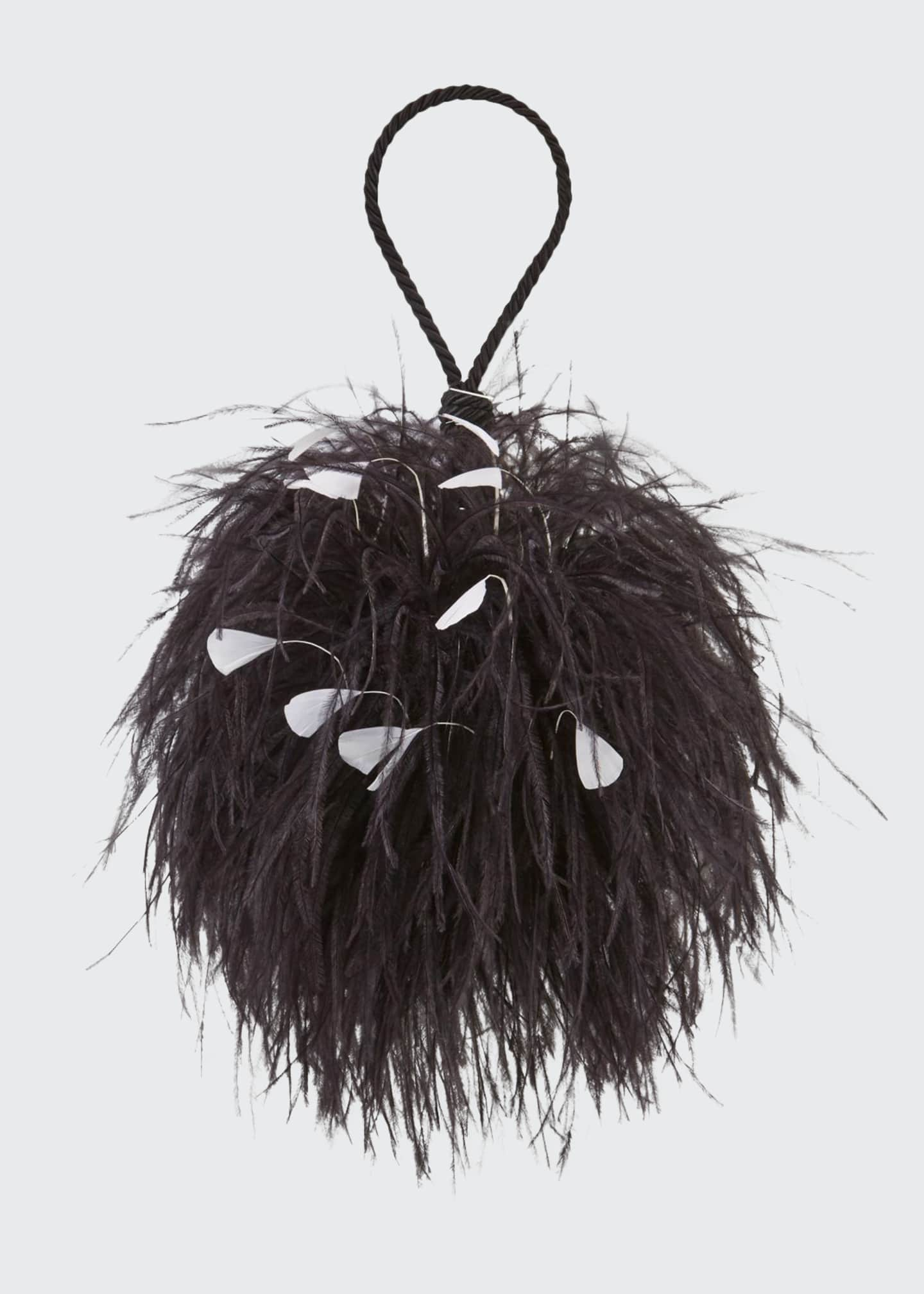 Image 1 of 3: Billard Faux-Feather Clutch Bag