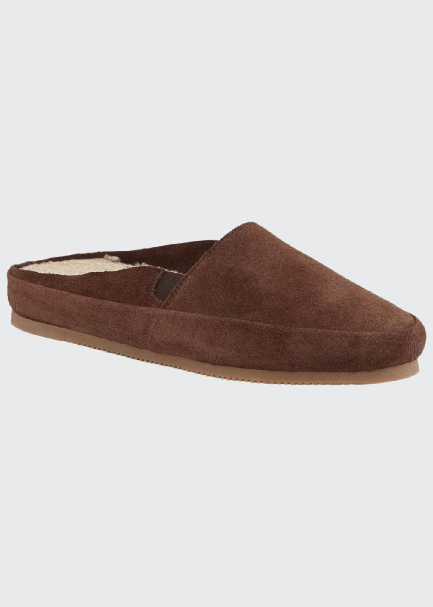 Image 1 of 3: Men's Suede Mule Slippers w/ Shearling Lining