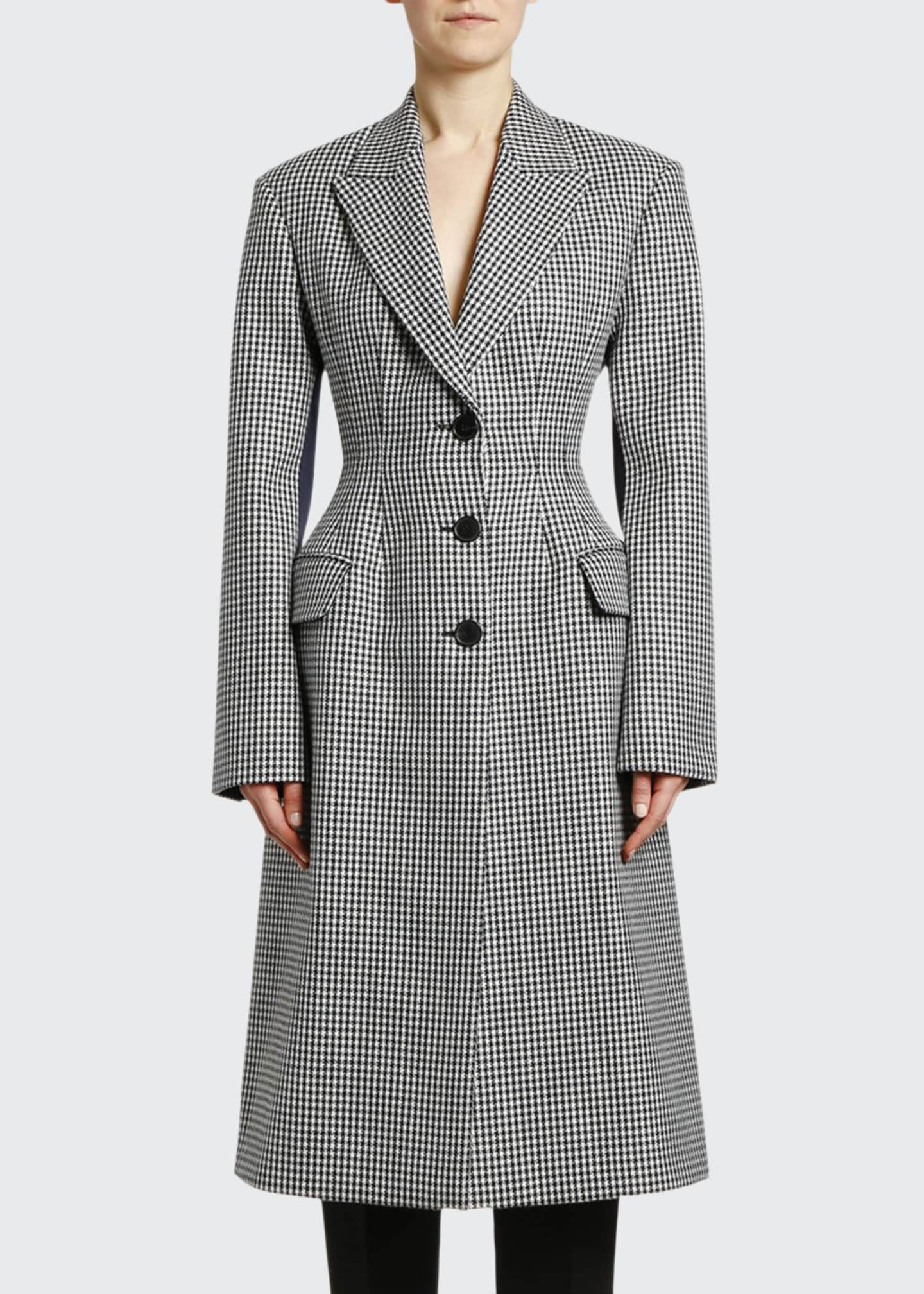 Image 1 of 2: Small Dogtooth Check Wool Coat