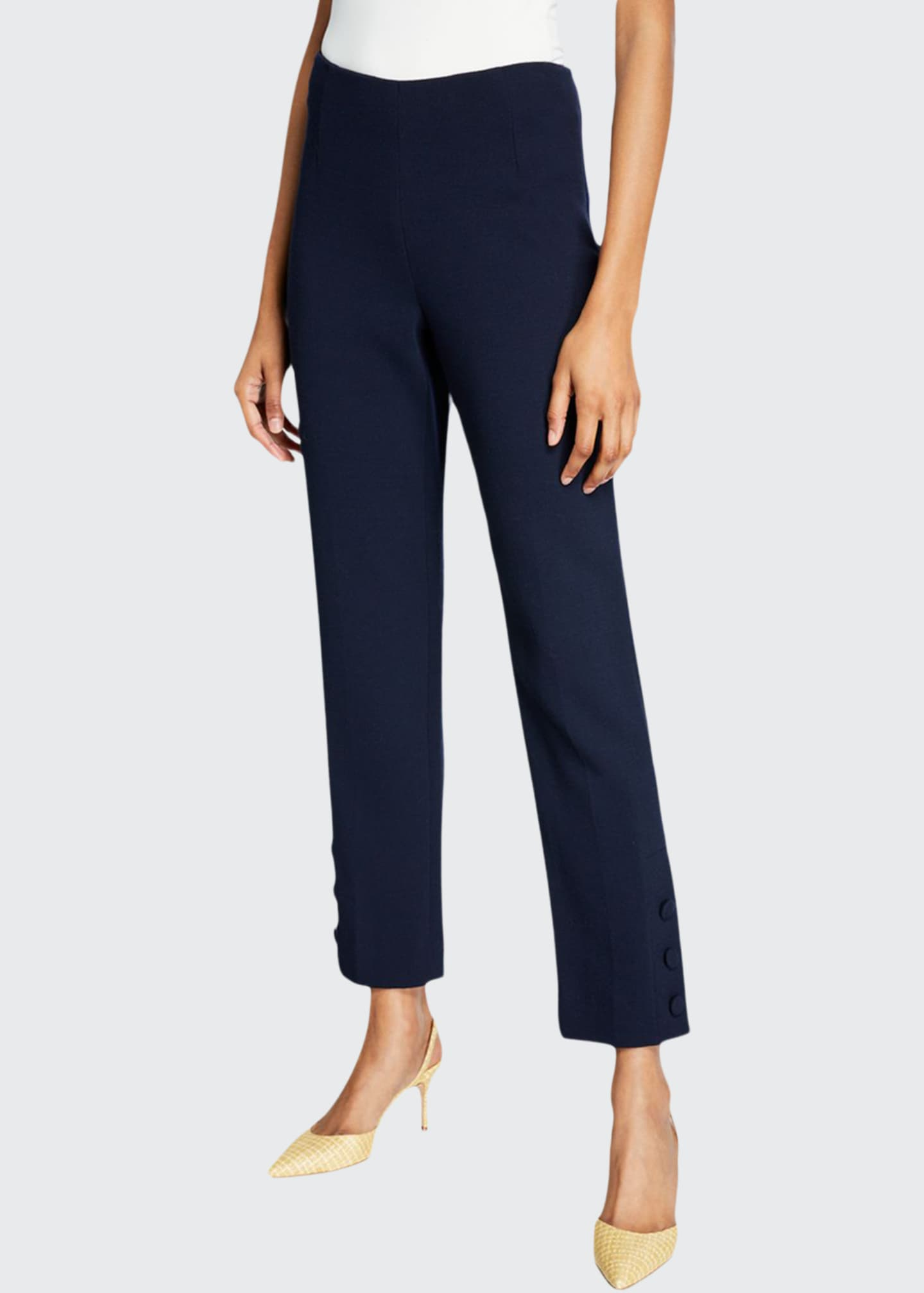 Image 1 of 3: Wool Crepe Button-Placket Crop Pants