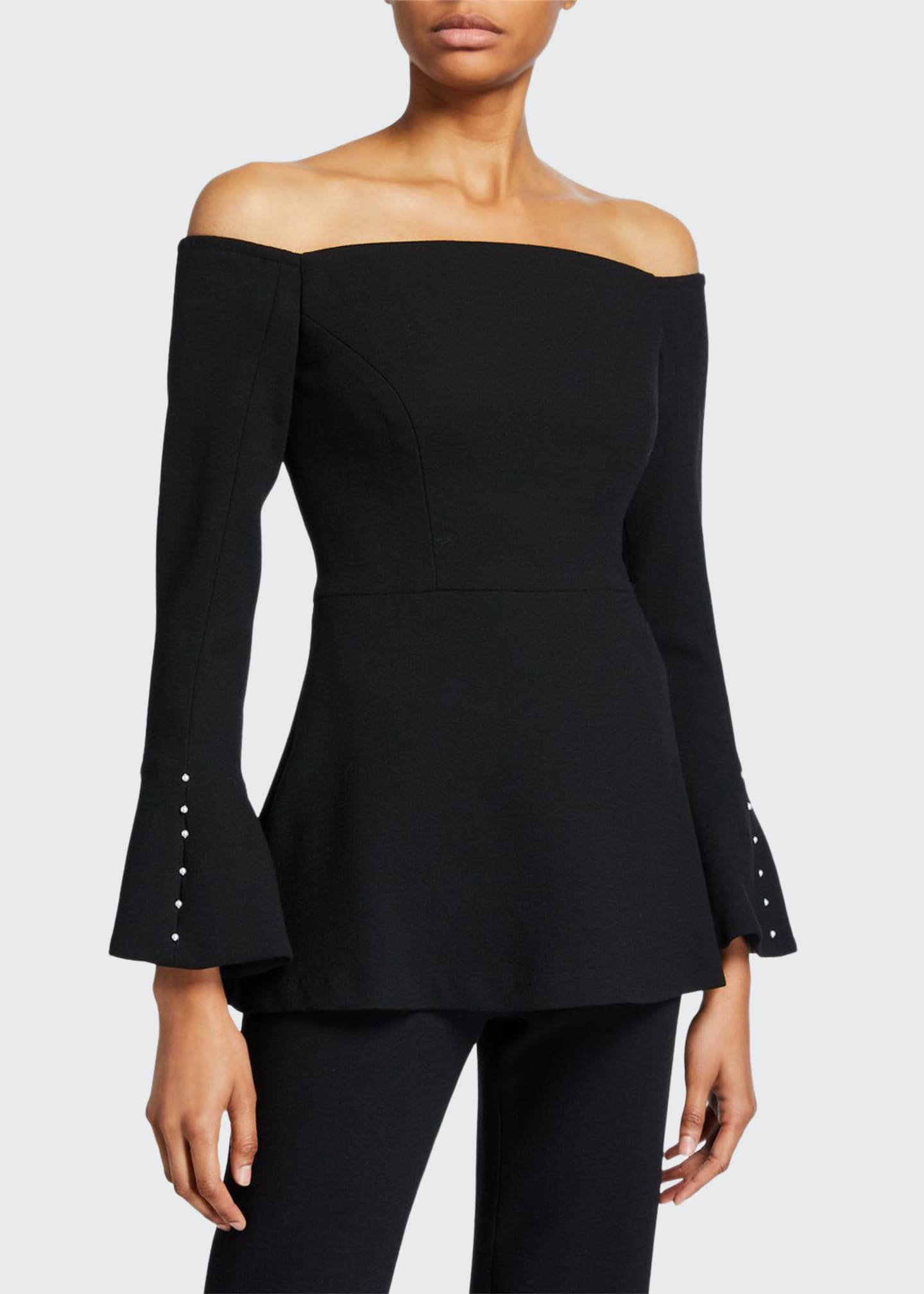 Lela Rose Wool Crepe Off-the-Shoulder Pearly Sleeve Top