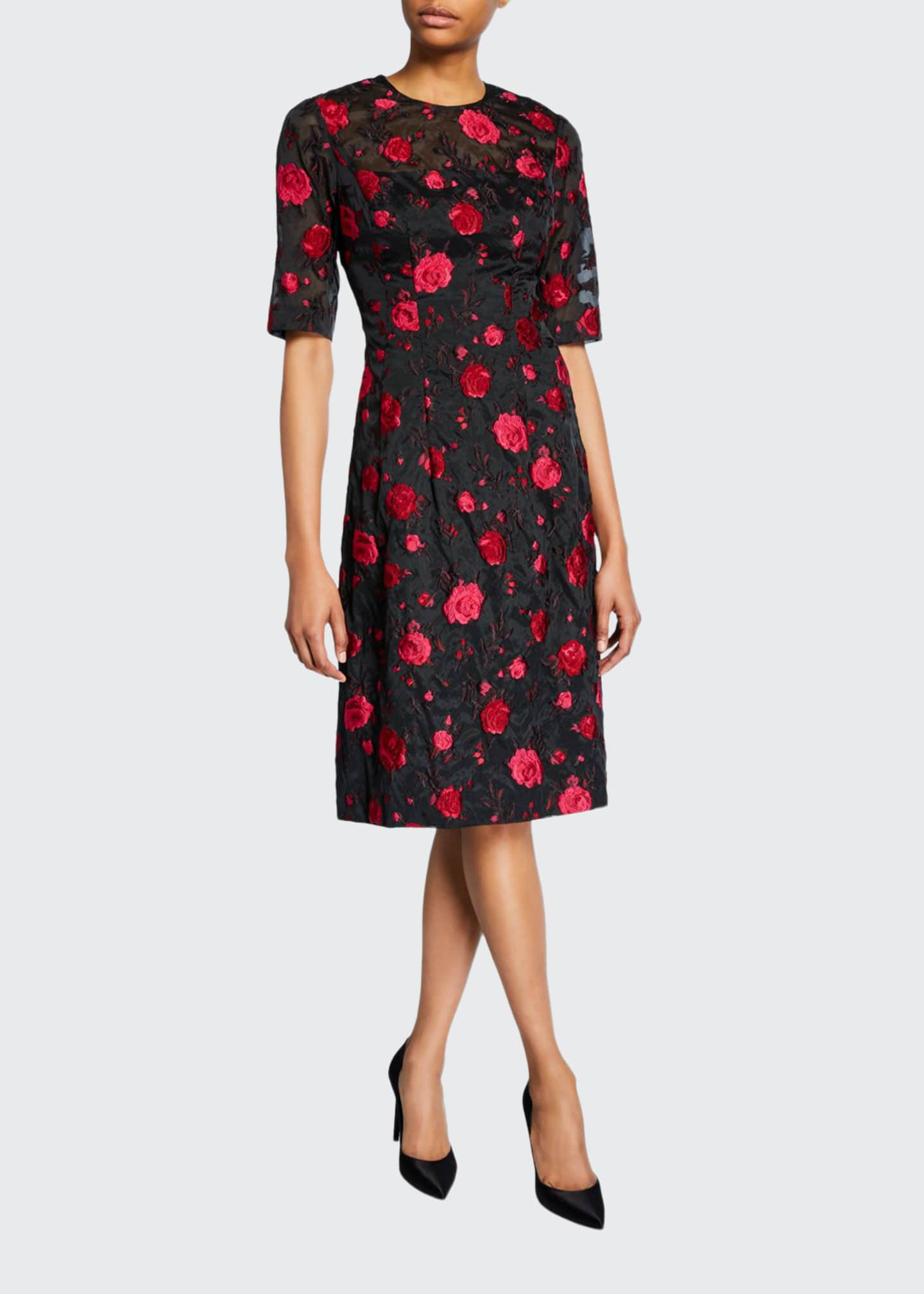 Lela Rose Holly Rose Fil Coupe Elbow-Sleeve Dress