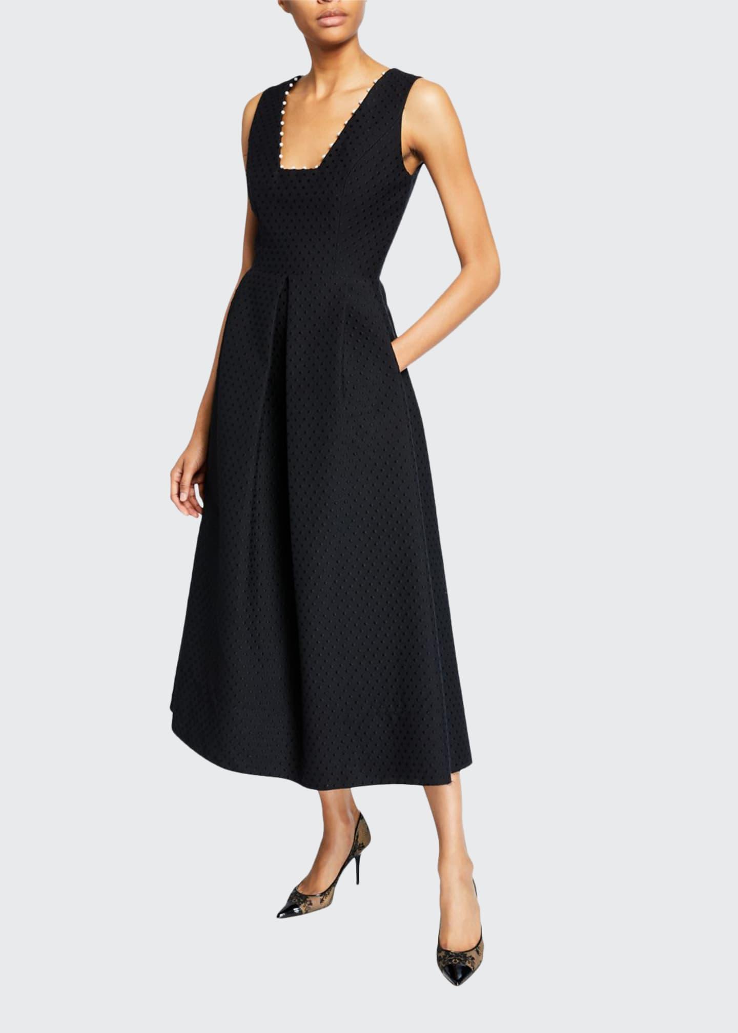 Lela Rose Raised Dot Jacquard Pearly-Detail Dress