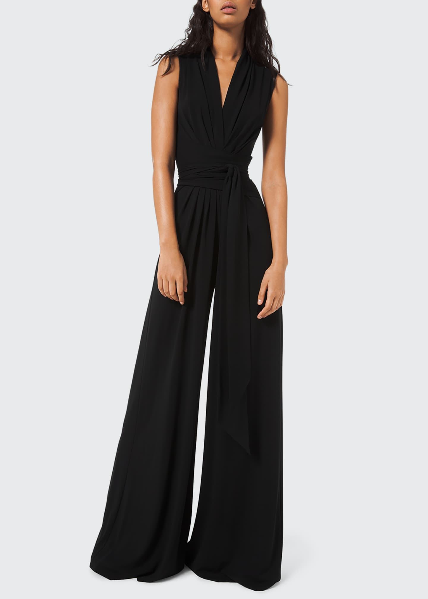 Image 1 of 2: Wrapped Jersey Palazzo Jumpsuit