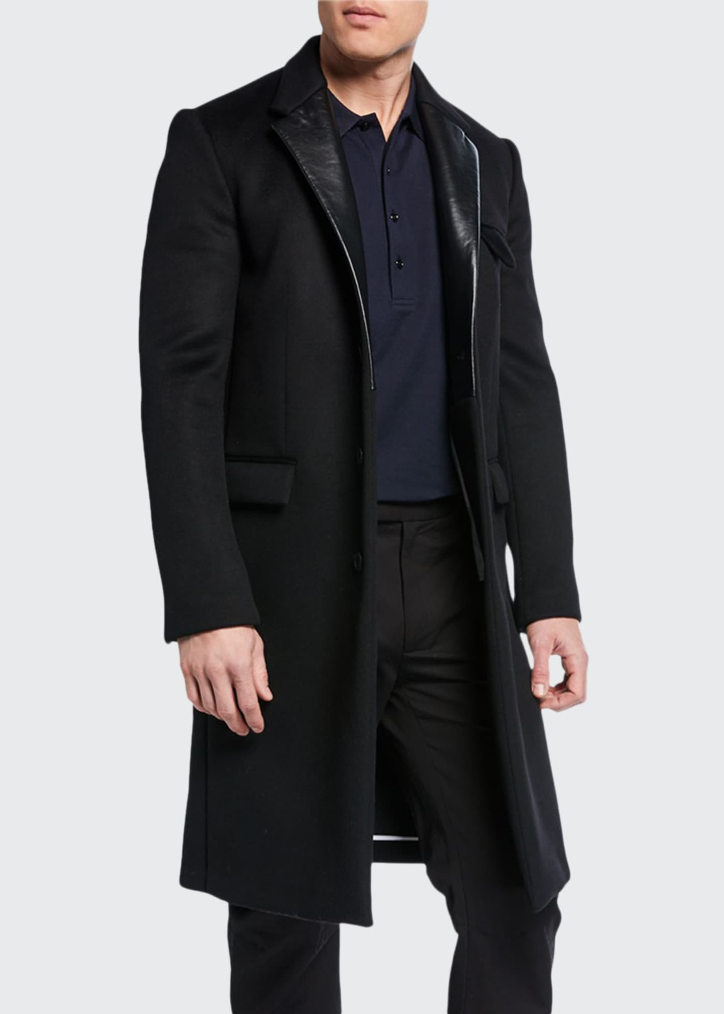Bottega Veneta Men's Single-Breasted Overcoat with Leather Lapels