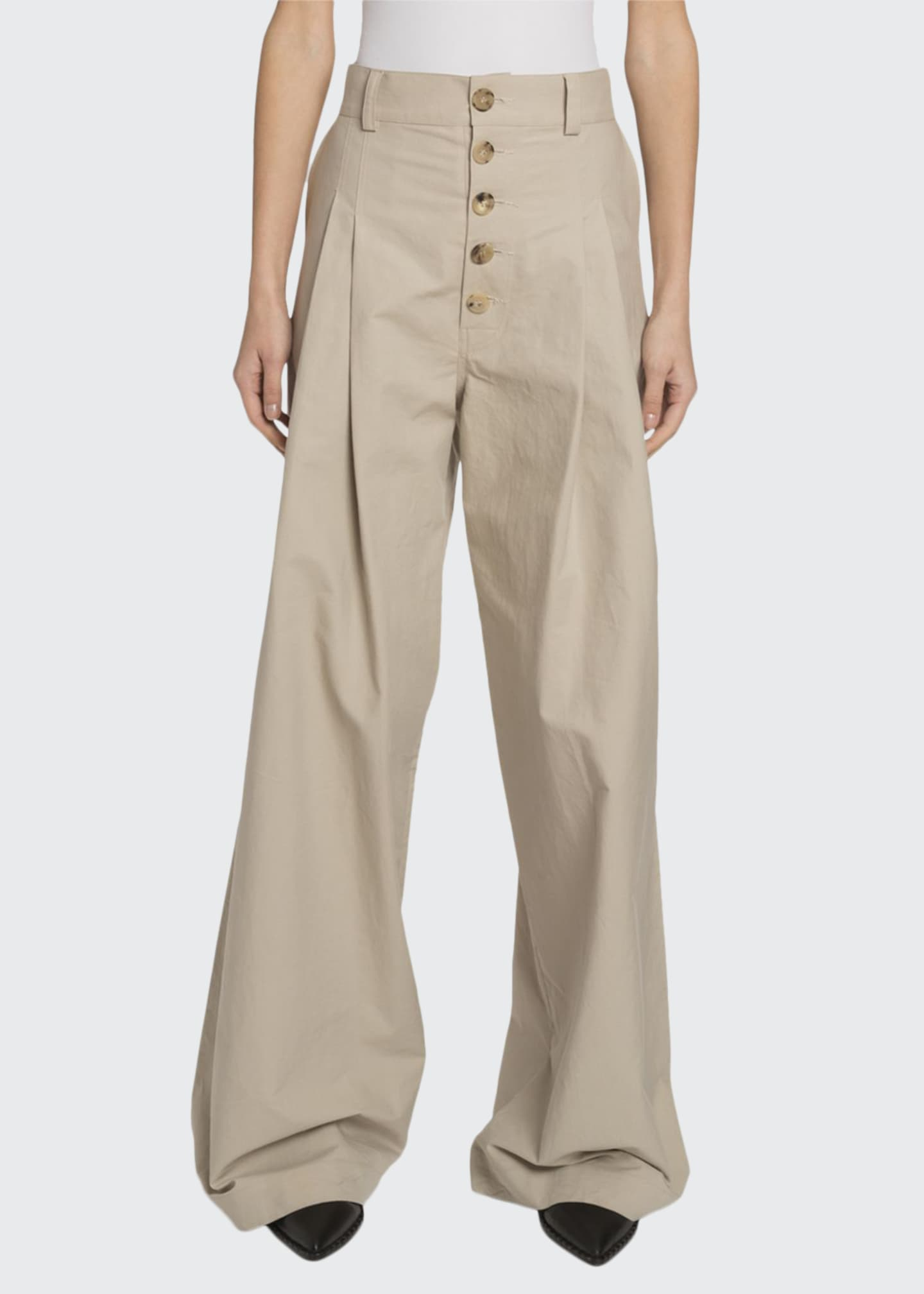 JW Anderson Baggy Gabardine Button-Front Trousers