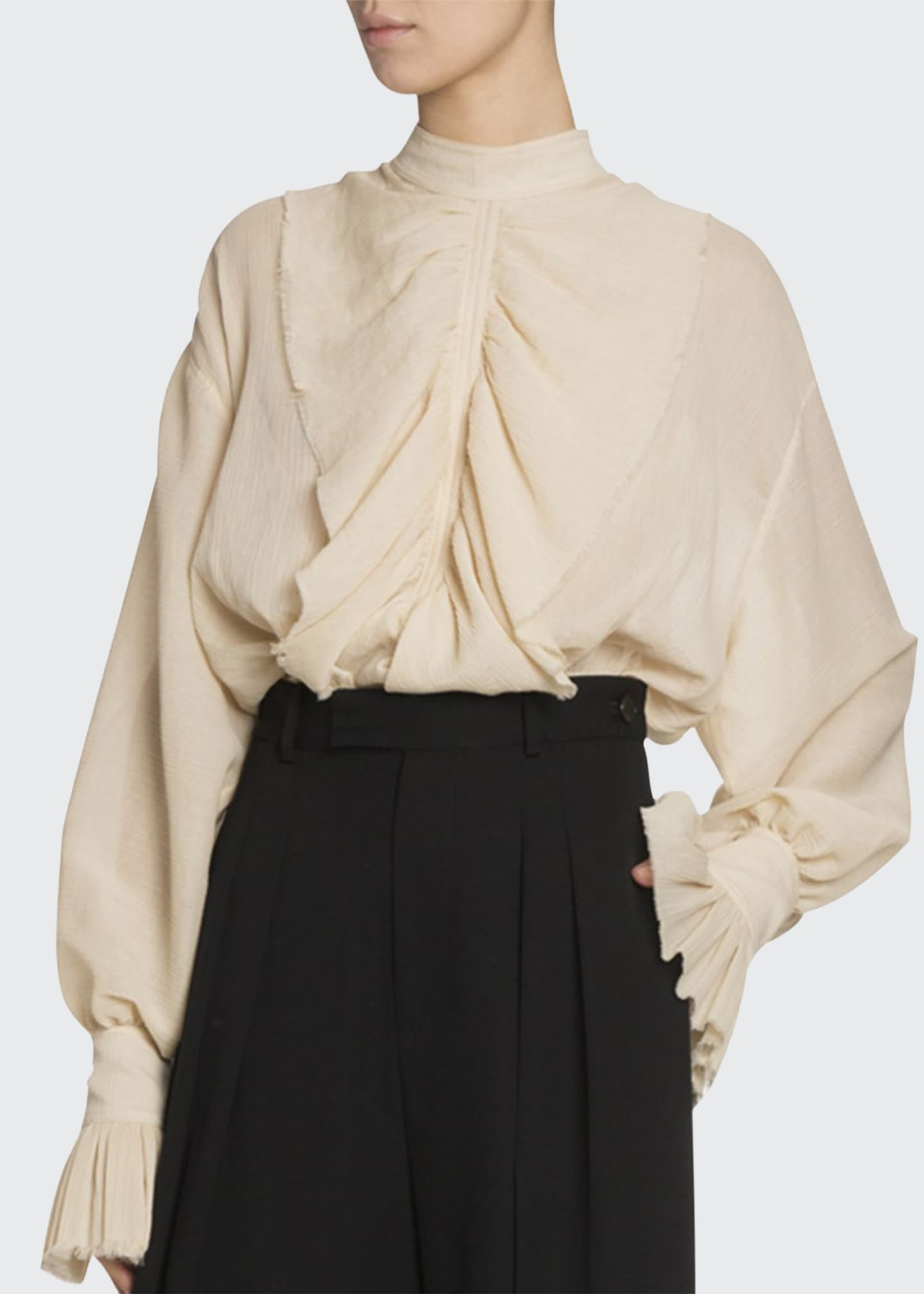 JW Anderson Frilled Cotton Funnel-Neck Peasant Blouse