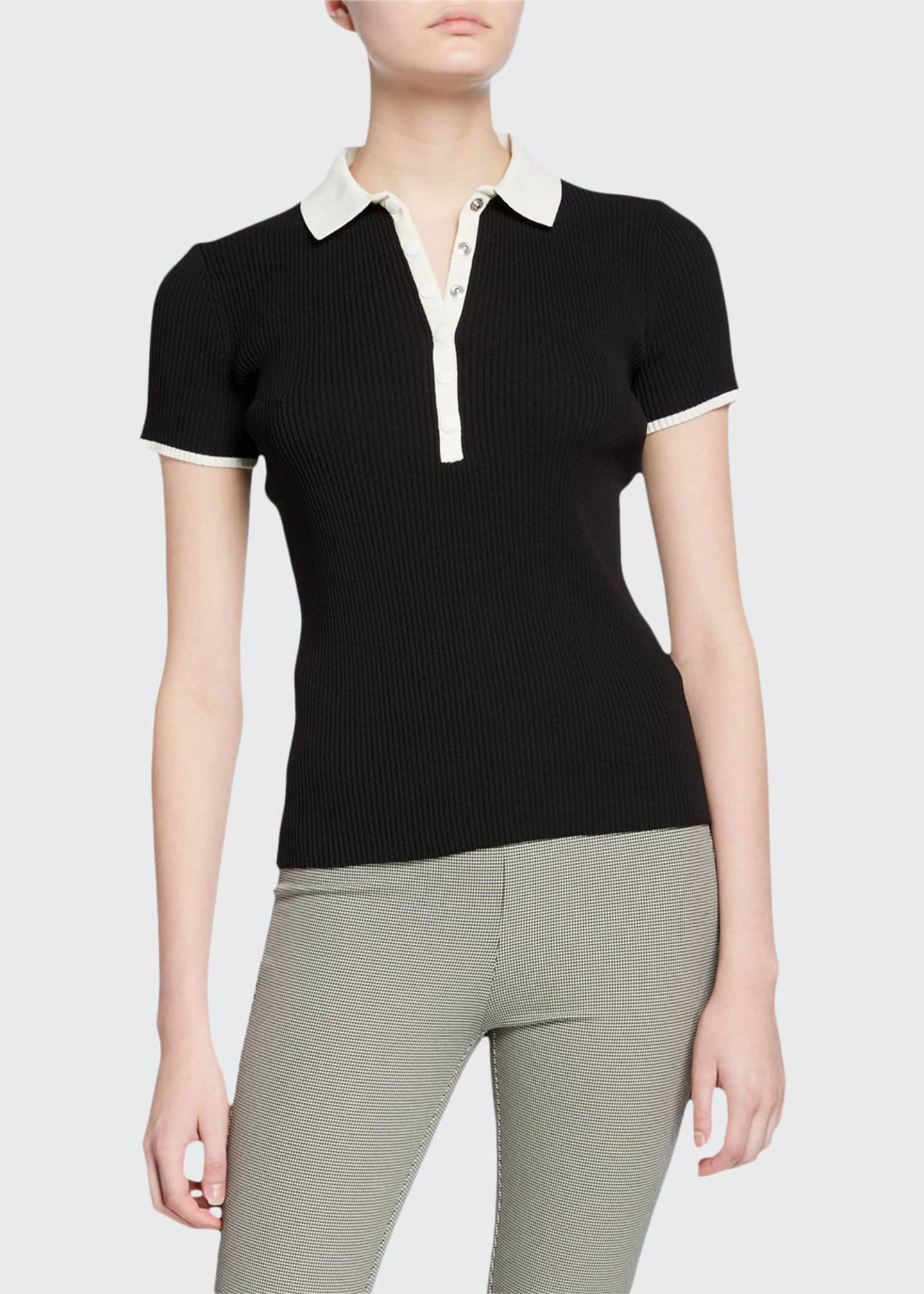 Rag & Bone Libby Short-Sleeve Ribbed Polo Shirt