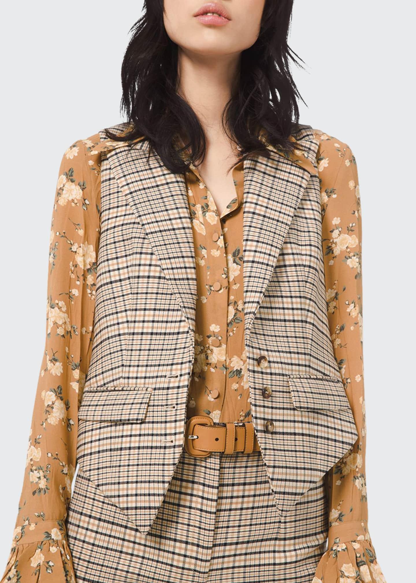 Michael Kors Collection Plaid Stretch Wool Vest