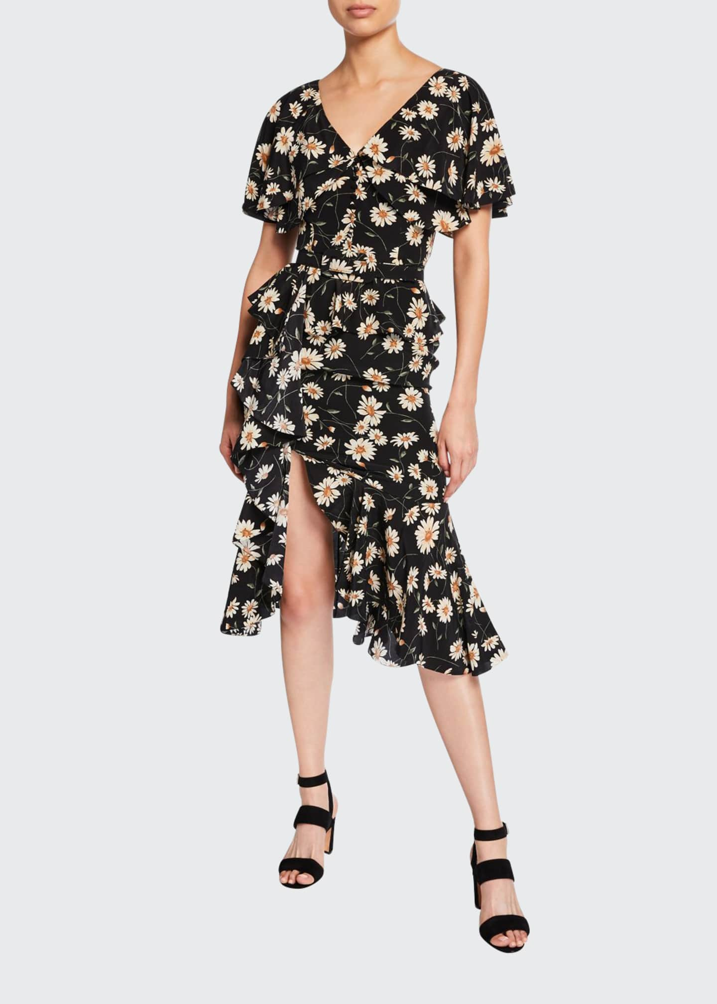 Michael Kors Collection Cascading Cape-Sleeve Dress