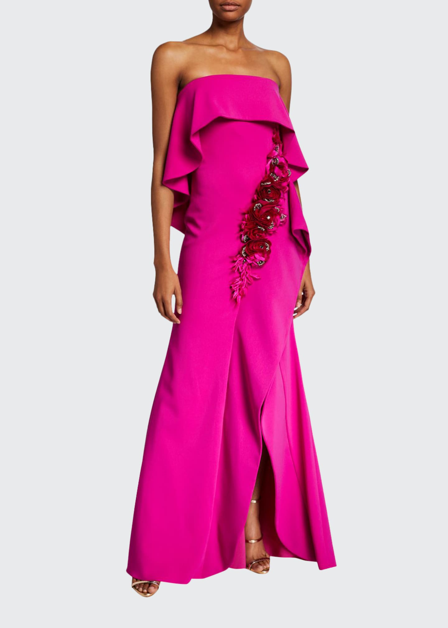 Badgley Mischka Couture Embroidered Rosette Strapless Popover