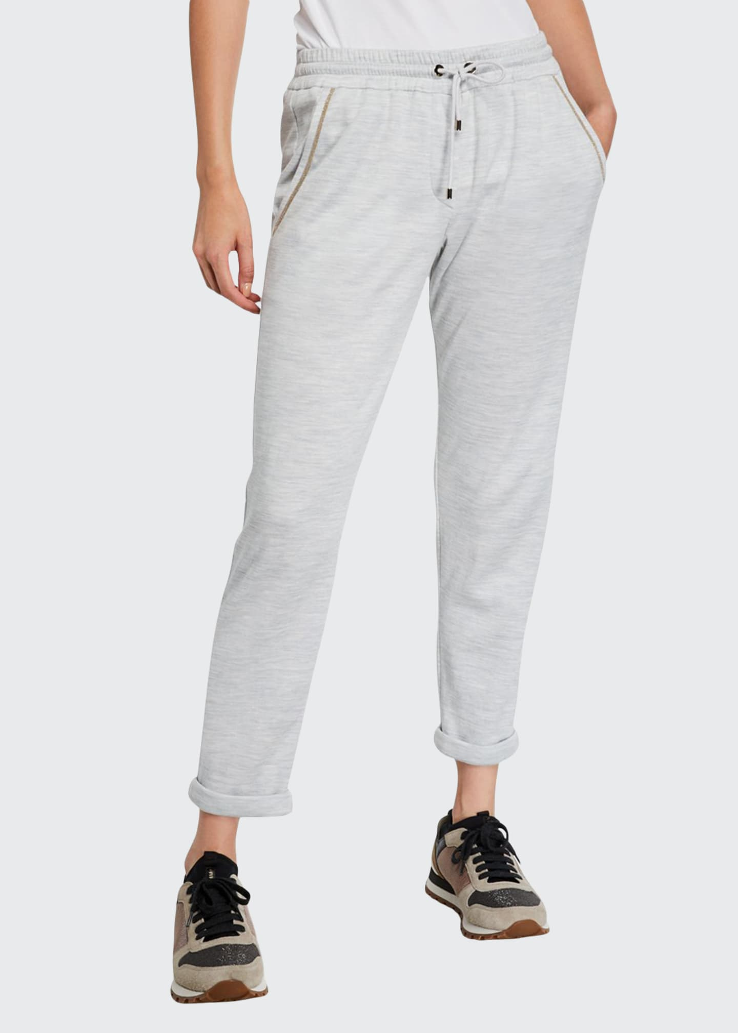 Brunello Cucinelli Monili-Trim Cotton-Silk Felpa Joggers
