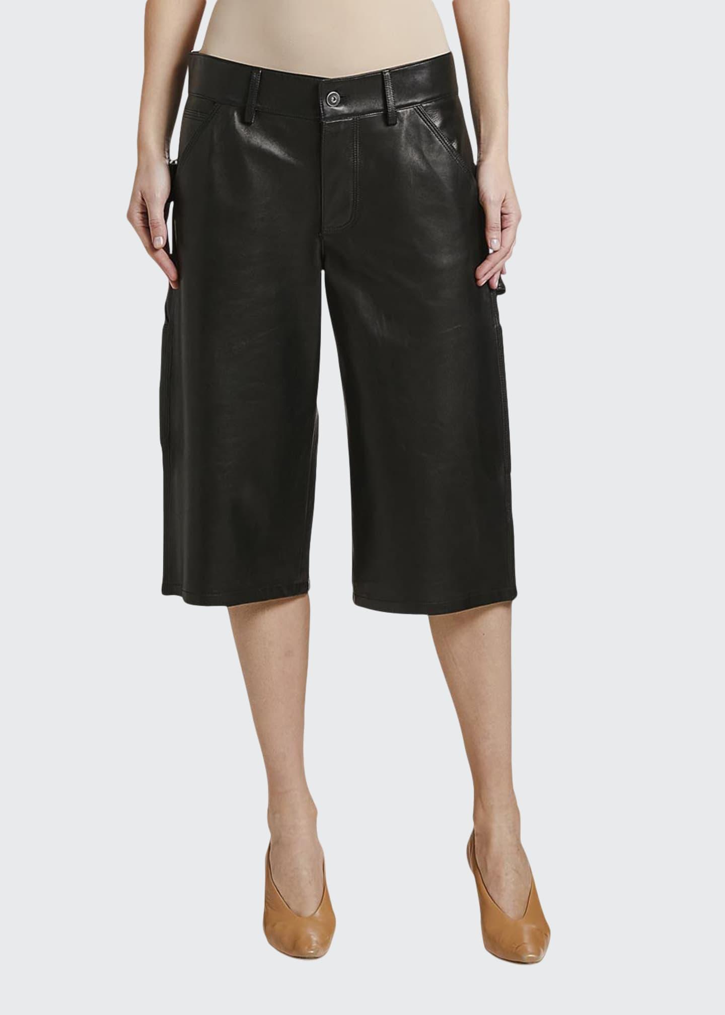 Bottega Veneta Wide-Leg Leather Culotte Shorts