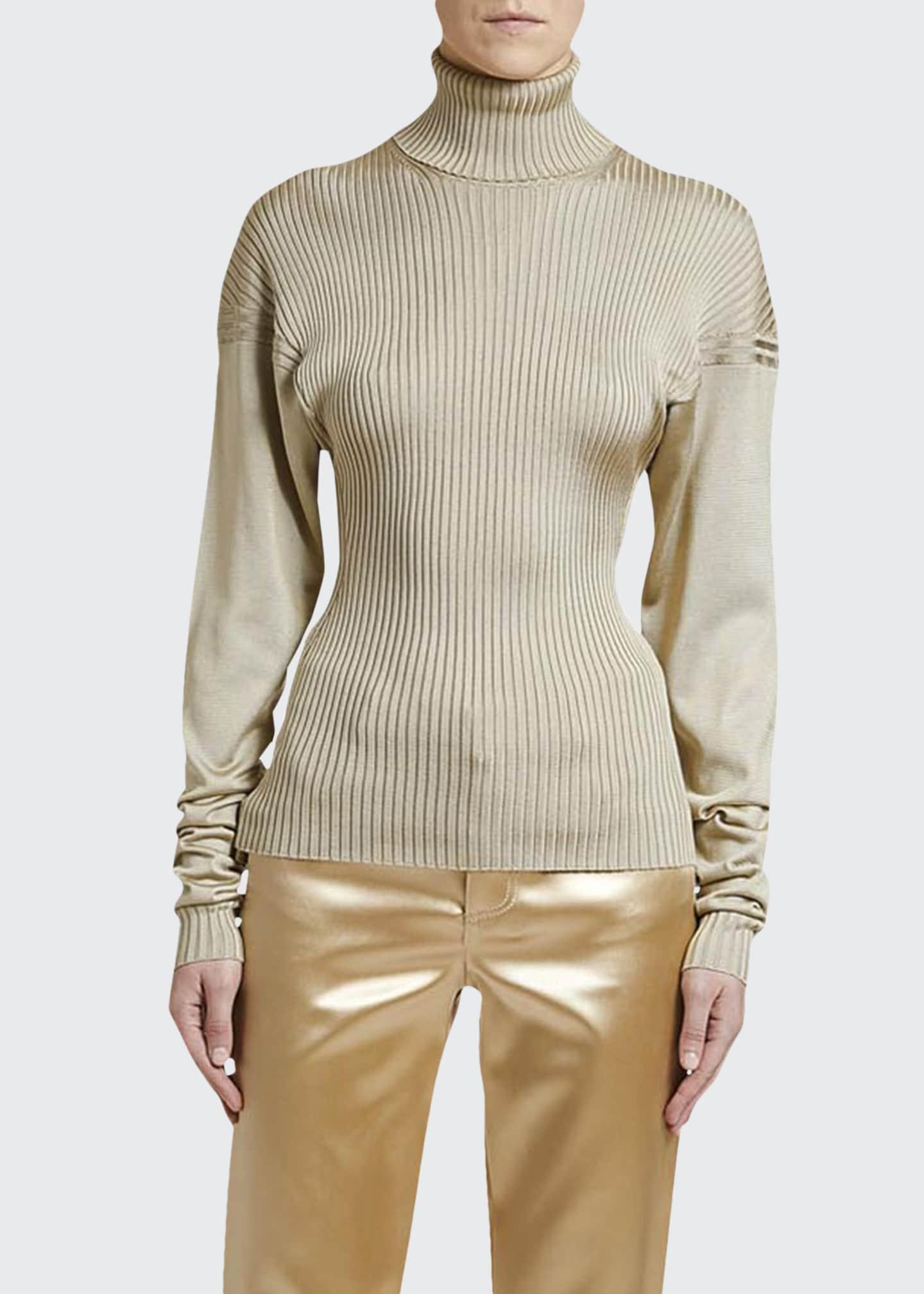 Bottega Veneta Ribbed-Silk Turtleneck Sweater