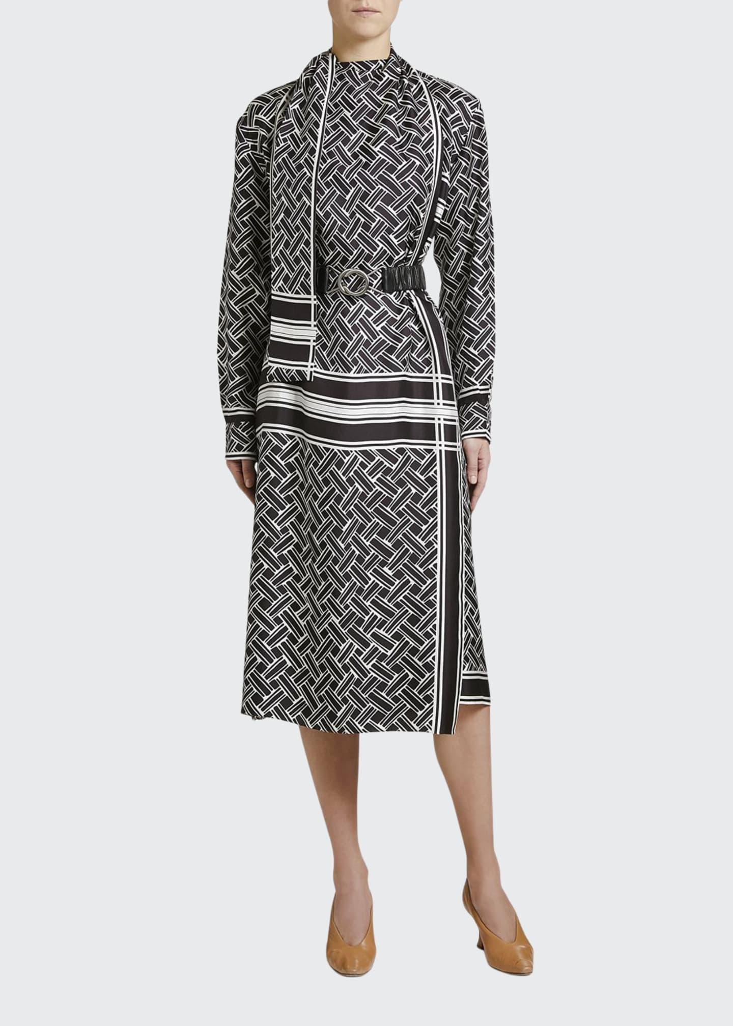 Bottega Veneta Twill Graphic Print Wrap Dress