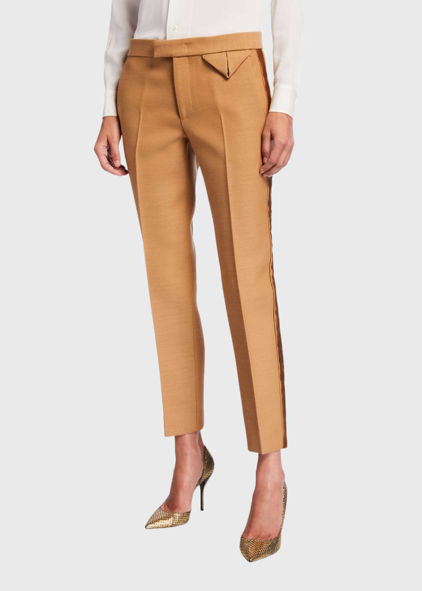 Bottega Veneta Dry Wool Scuba Satin Tuxedo Pants
