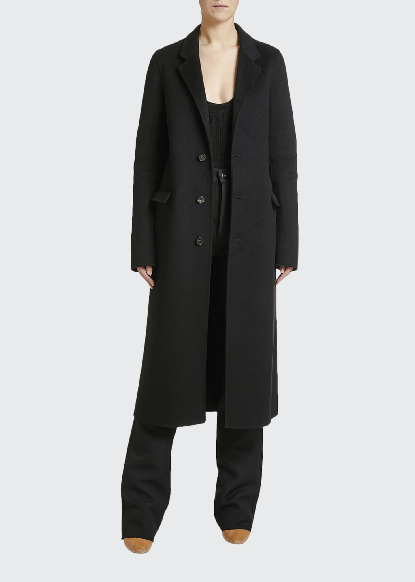 Bottega Veneta Double-Wool Button-Front Long Coat