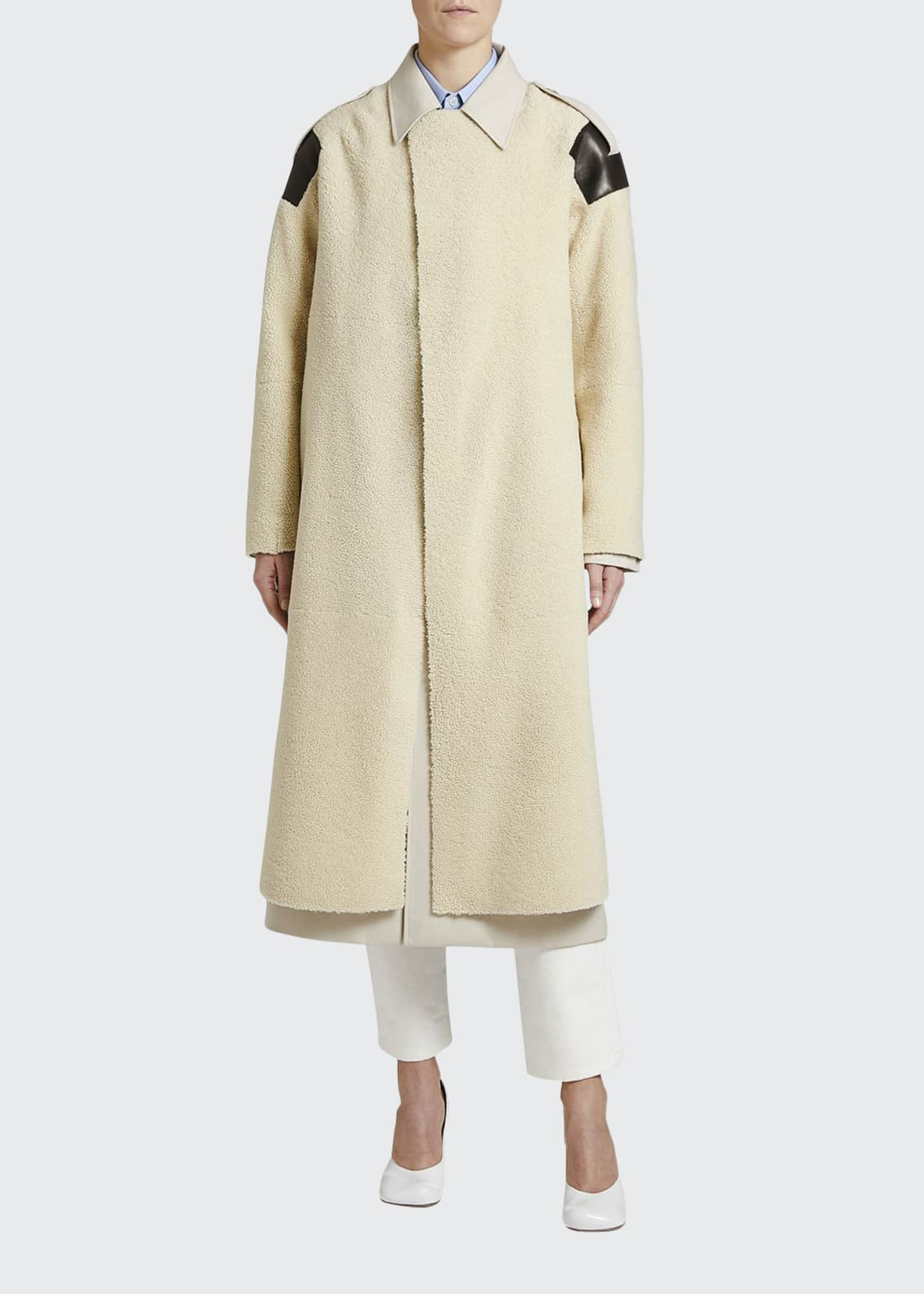 Image 1 of 2: Leather-Patch Shearling Trench Coat