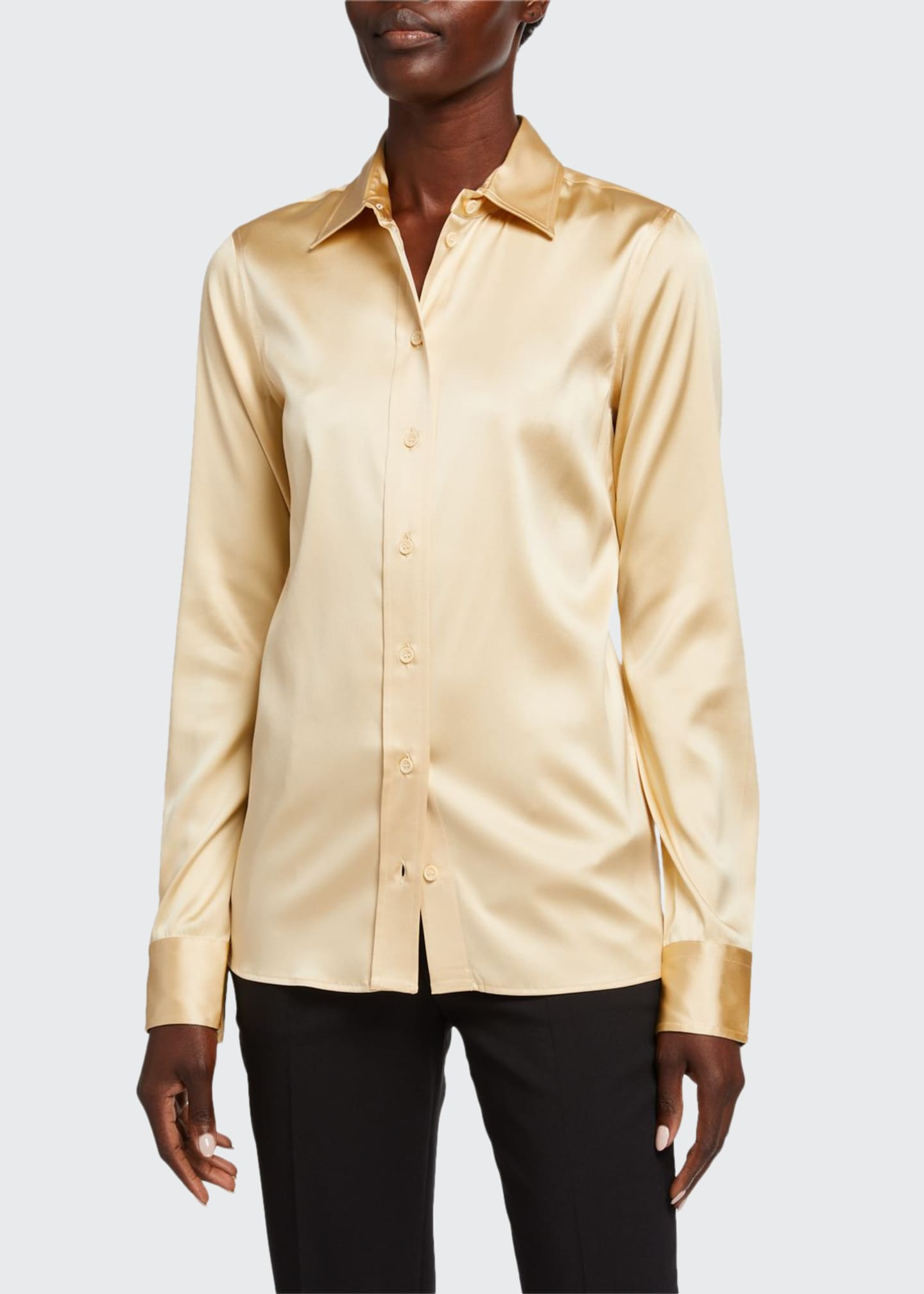 Image 1 of 2: Silk Twill Button-Front Blouse