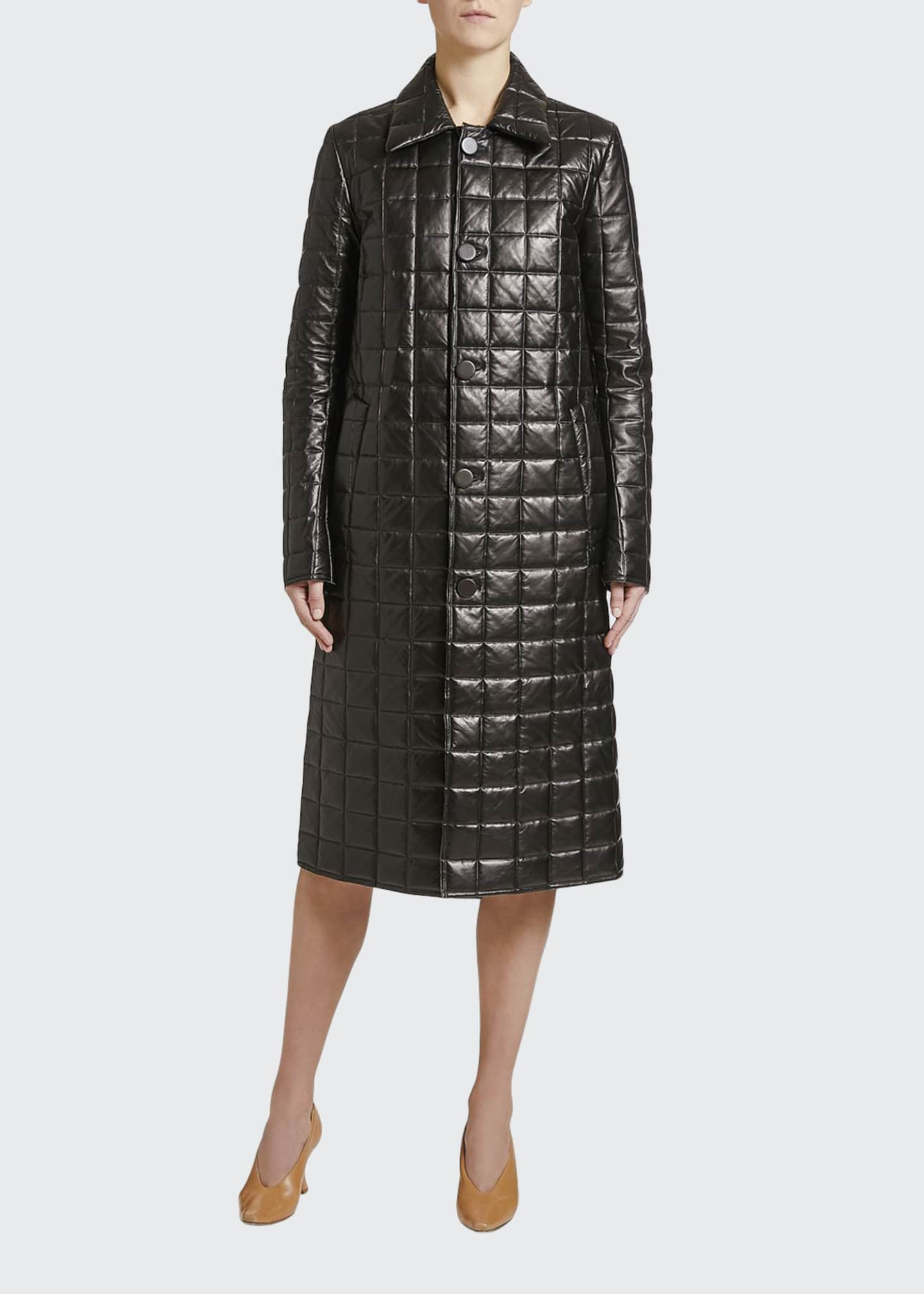 Image 1 of 2: Quilted Napa Leather Button-Front Coat