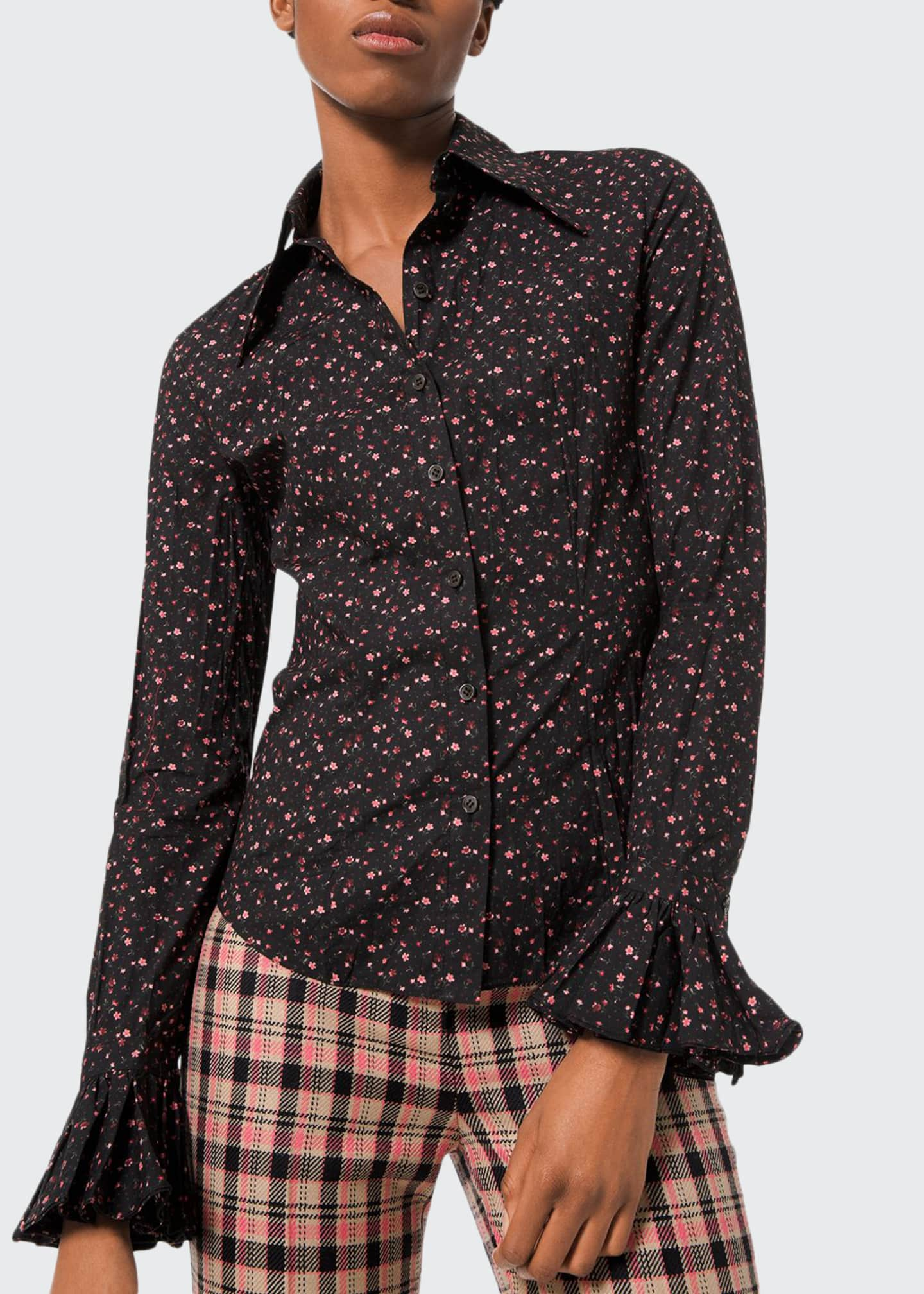 Michael Kors Collection Floral-Print Crushed Bell-Sleeve Shirt,