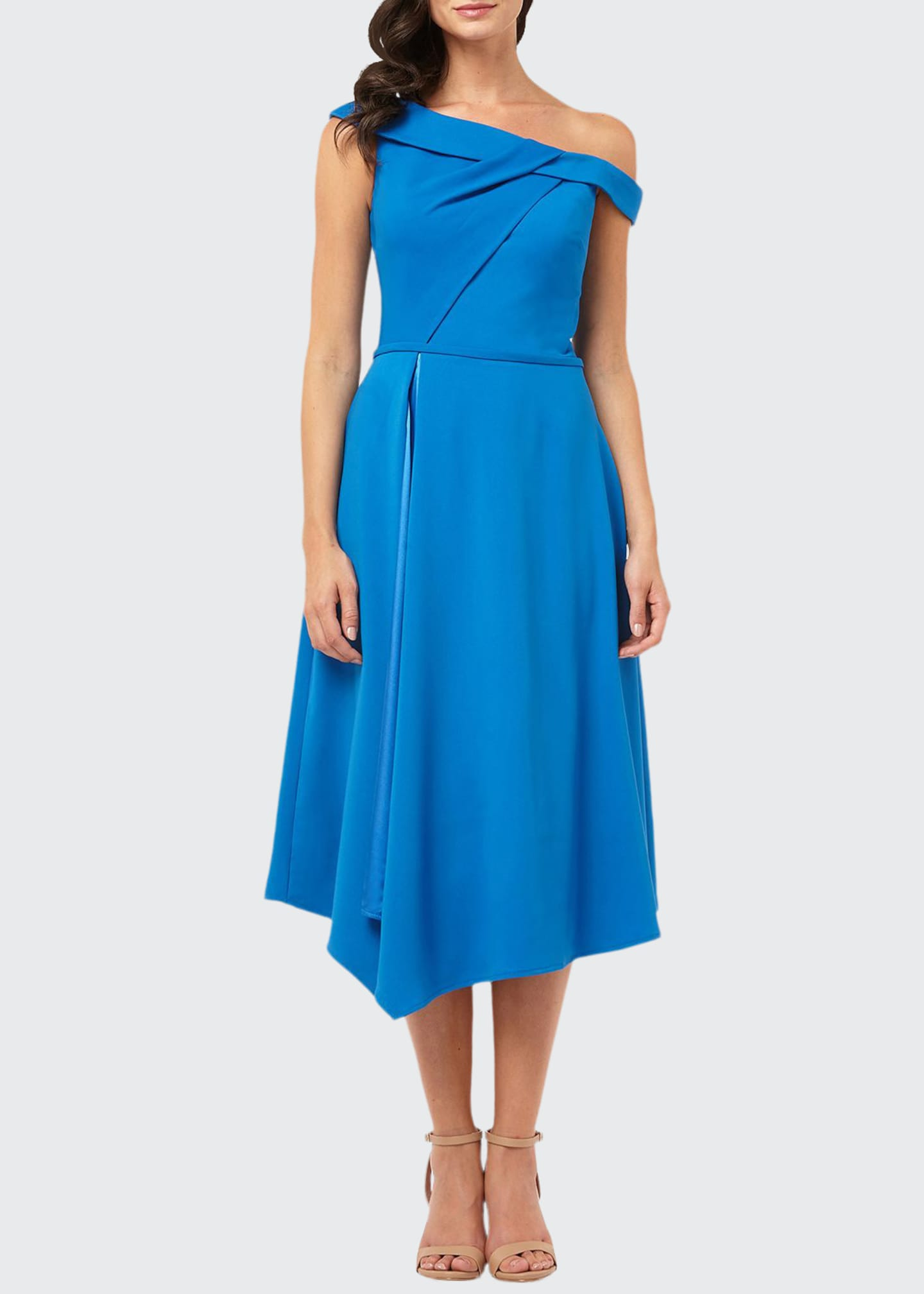 Carmen Marc Valvo Infusion One-Shoulder Asymmetric Satin-Lined