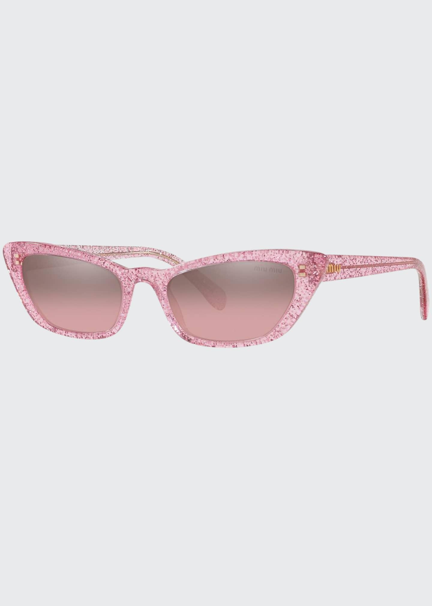 Miu Miu Glittered Acetate Cat-Eye Sunglasses