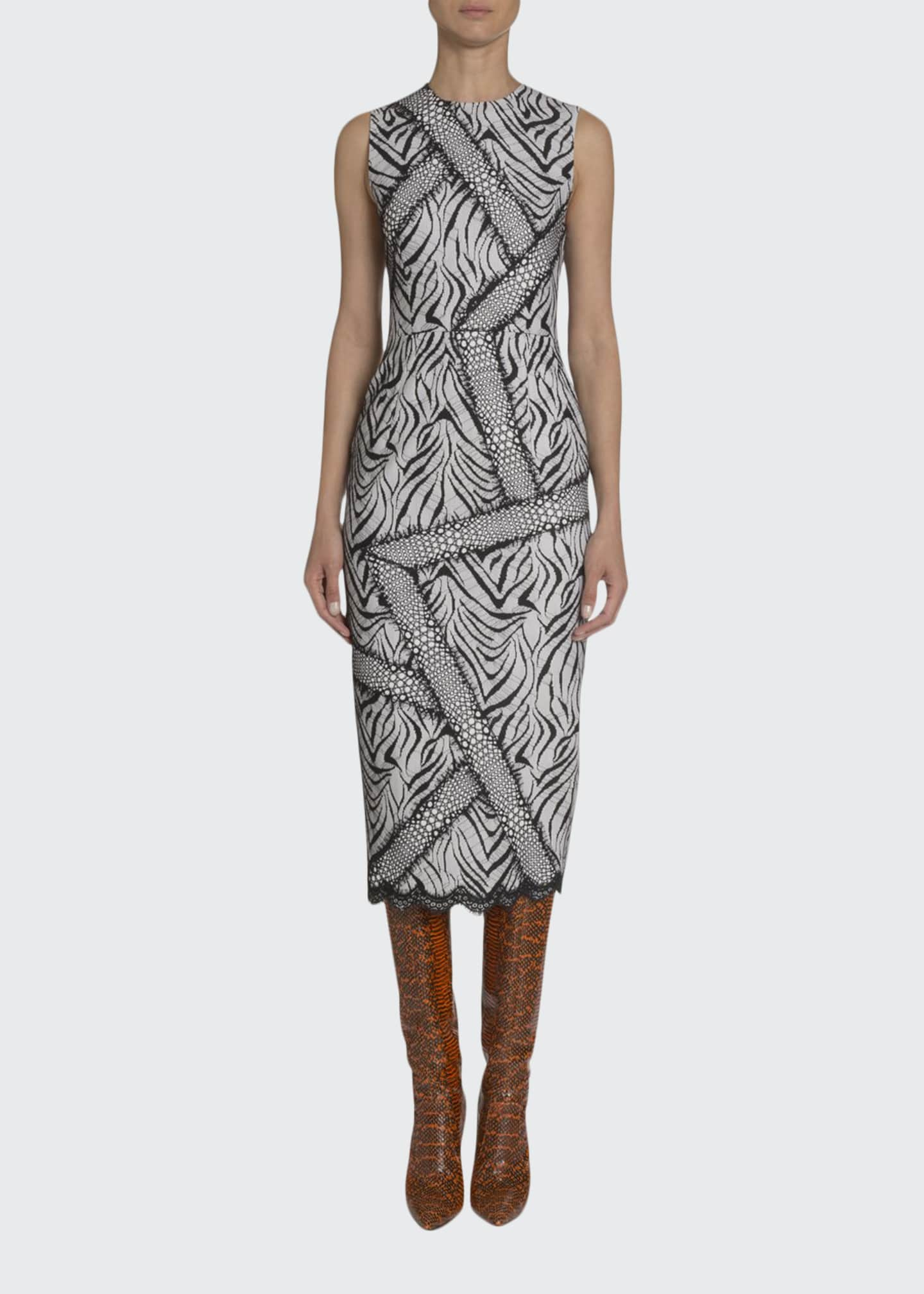 Andrew Gn Abstract Zebra-Print Sheath Dress