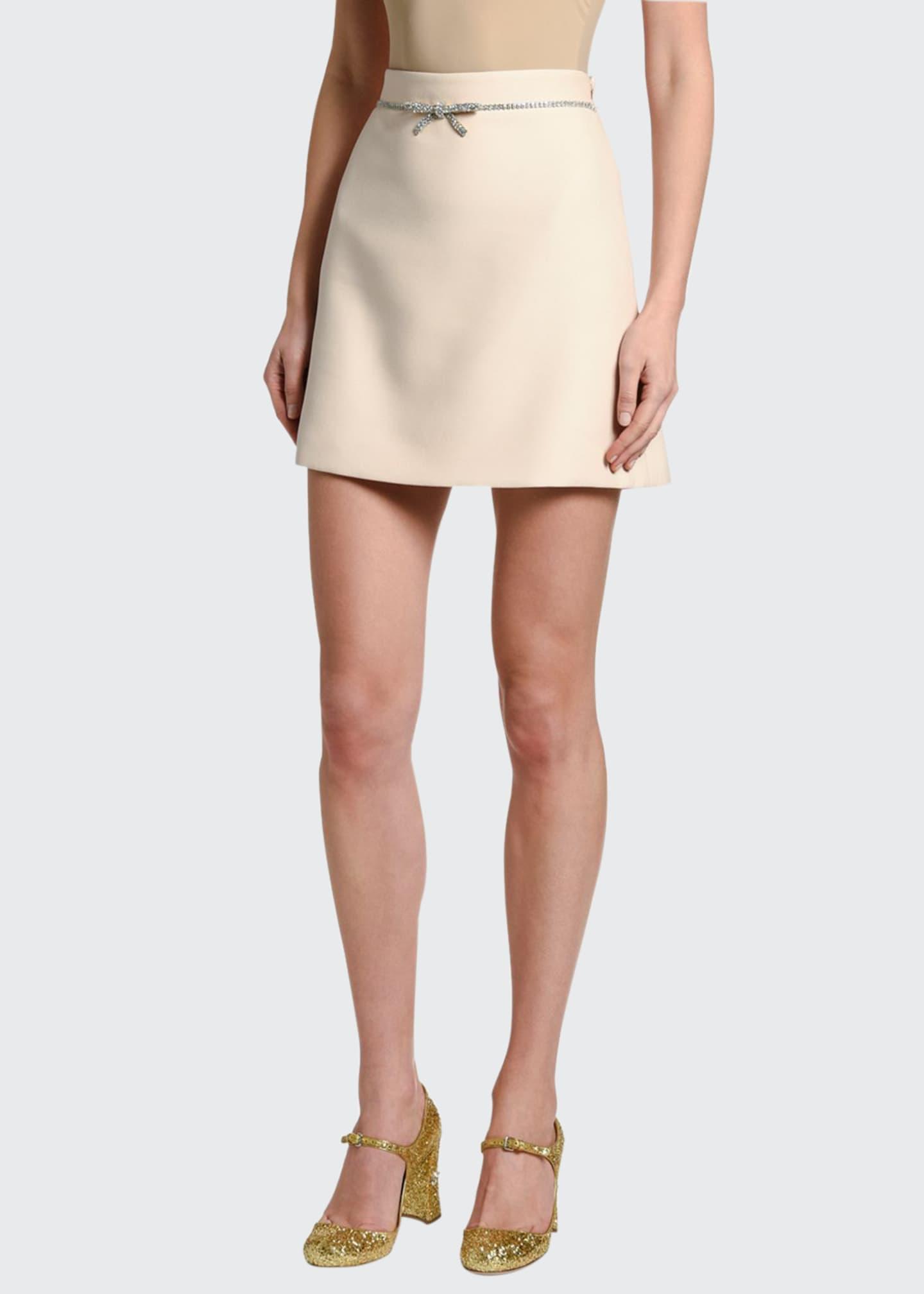 Miu Miu Cady Mini Skirt w/ Crystal Bow