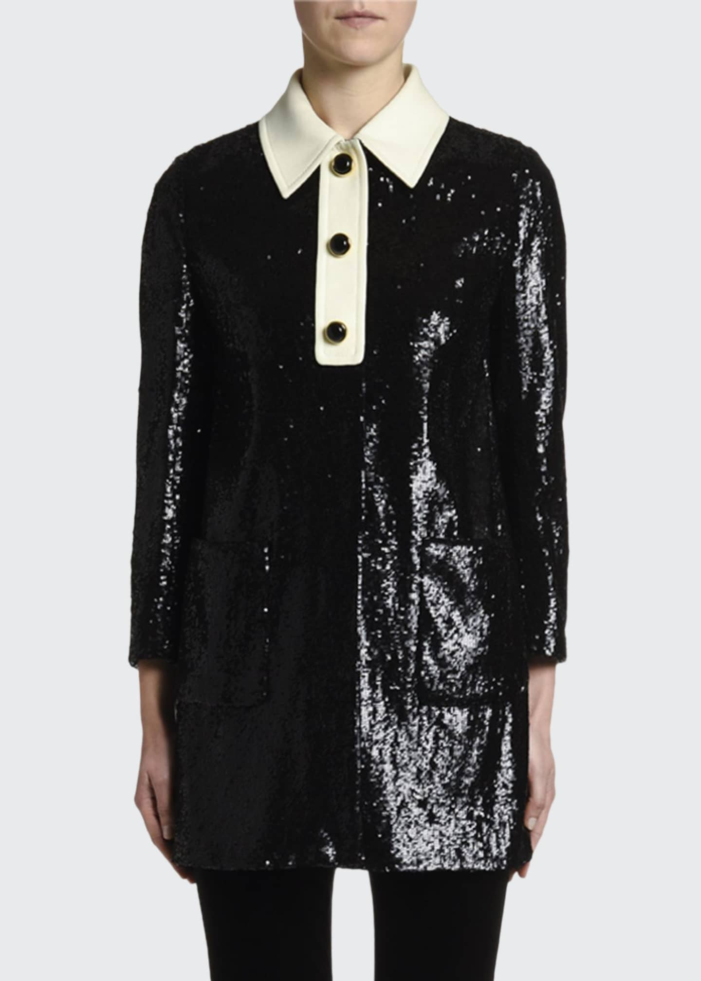 Miu Miu Sequined Long Jacket w/ Satin Collar