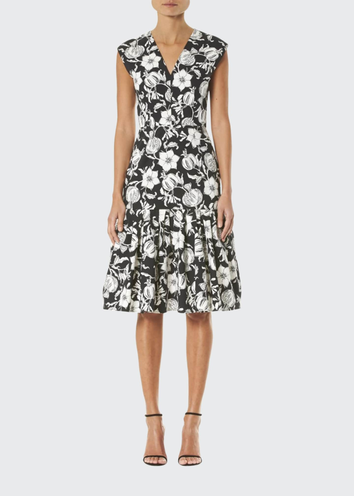 Carolina Herrera Floral-Print Cap-Sleeve Midi Dress
