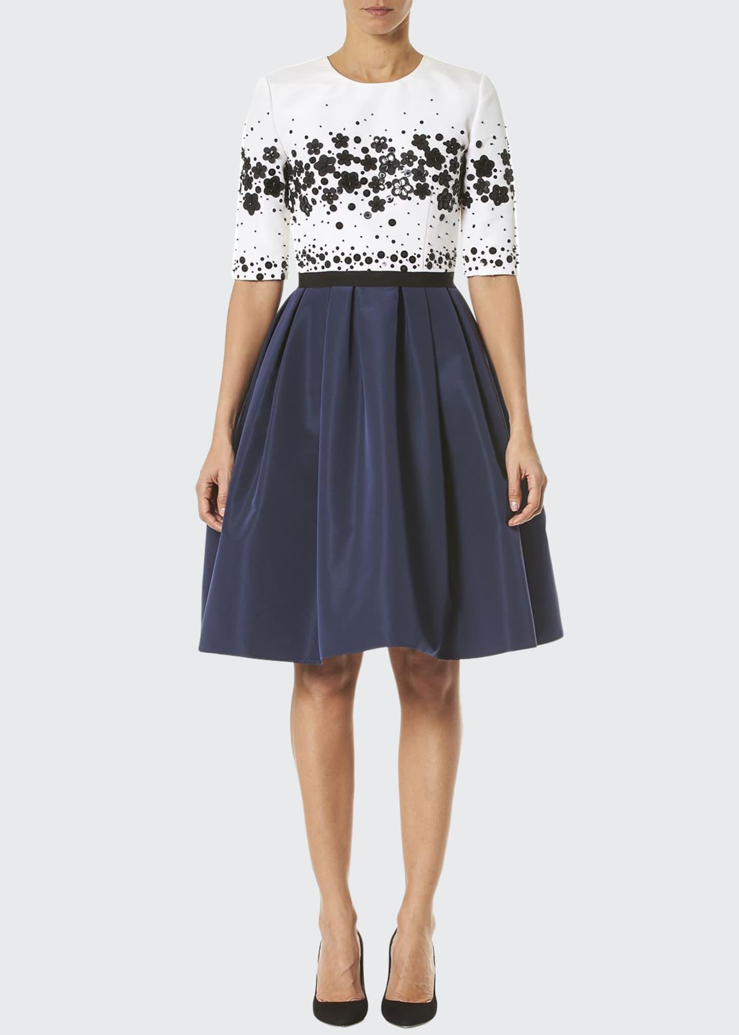 Carolina Herrera Half-Sleeve Fit-&-Flare Dress