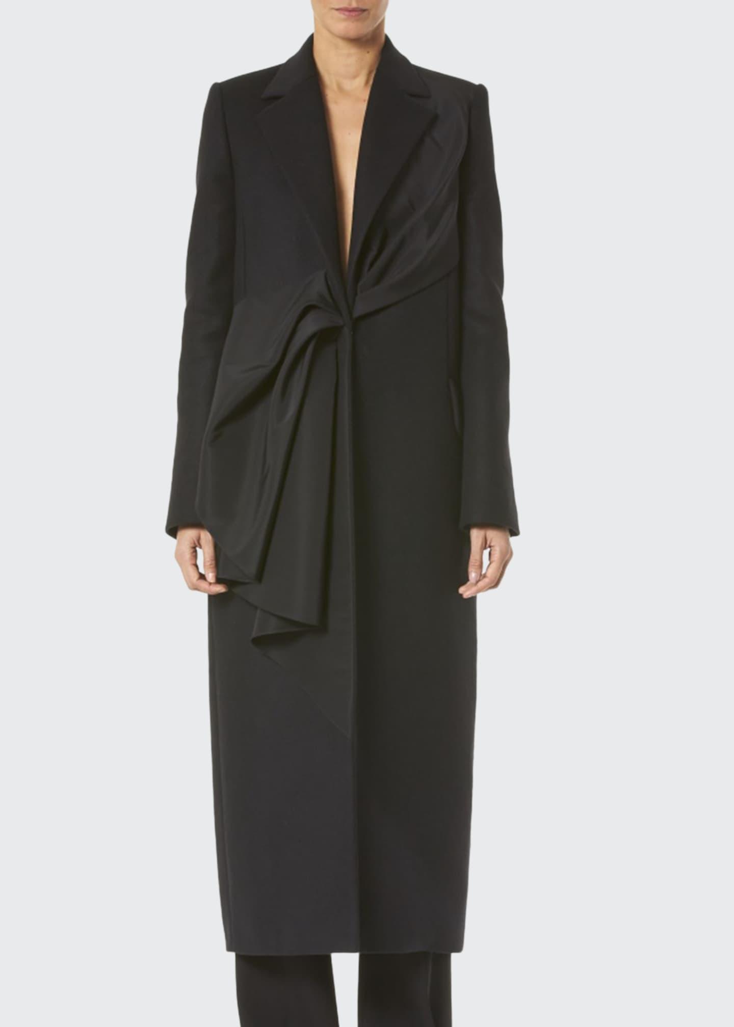 Carolina Herrera Asymmetric Draped Ruffled Coat