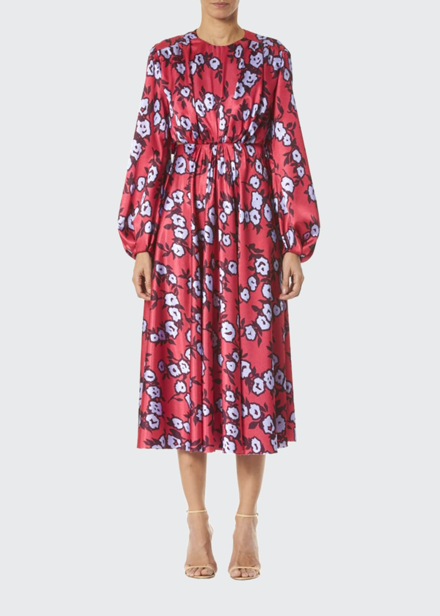 Carolina Herrera Floral-Print Long-Sleeve Gathered Dress