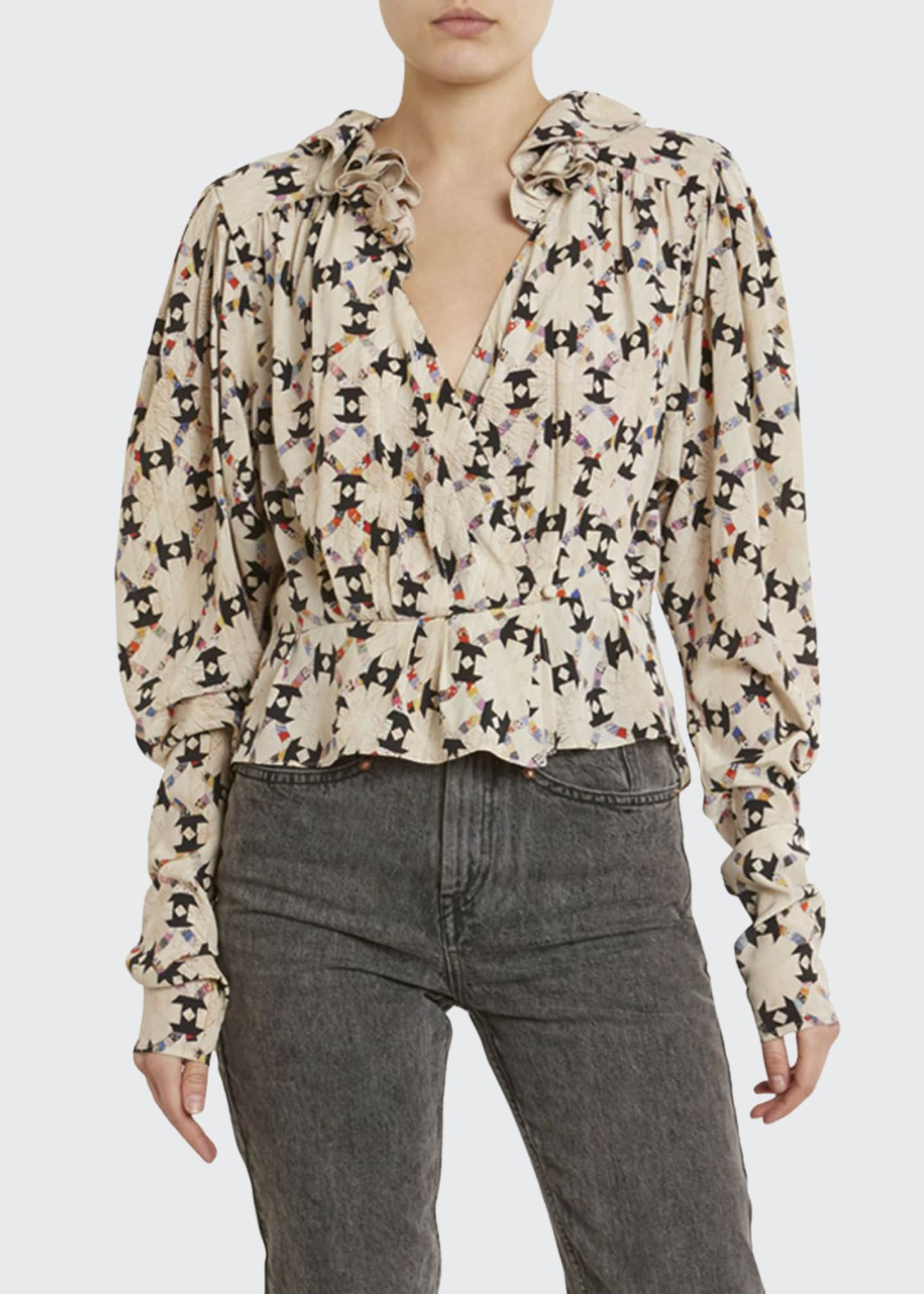 Isabel Marant Floral-Print Stretch-Silk Top