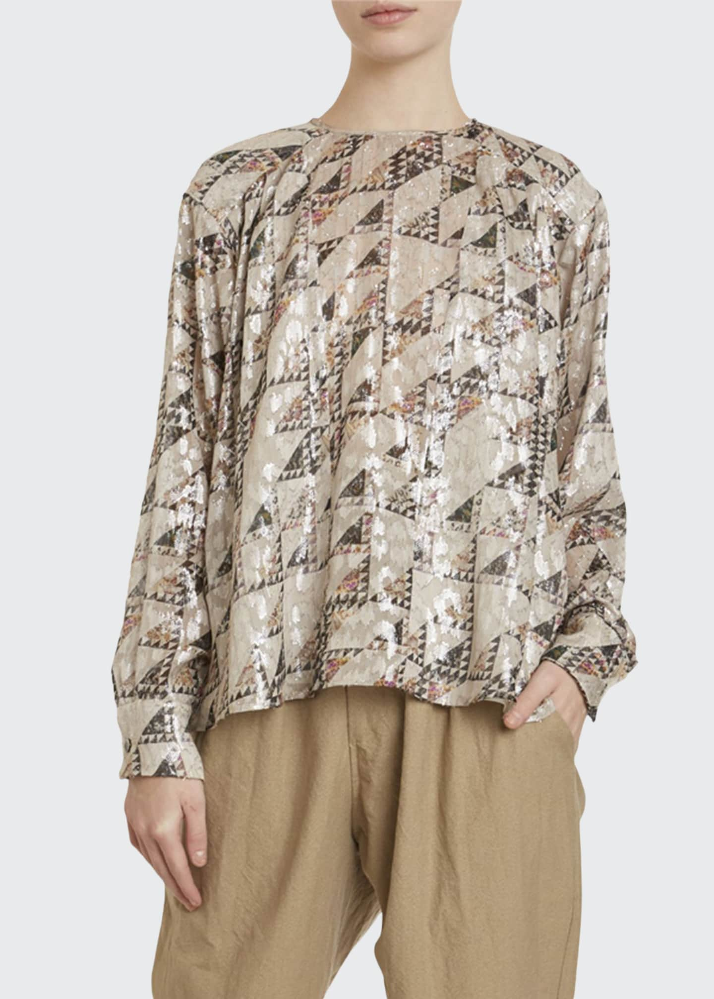 Isabel Marant Shimmered Silk Crewneck Top