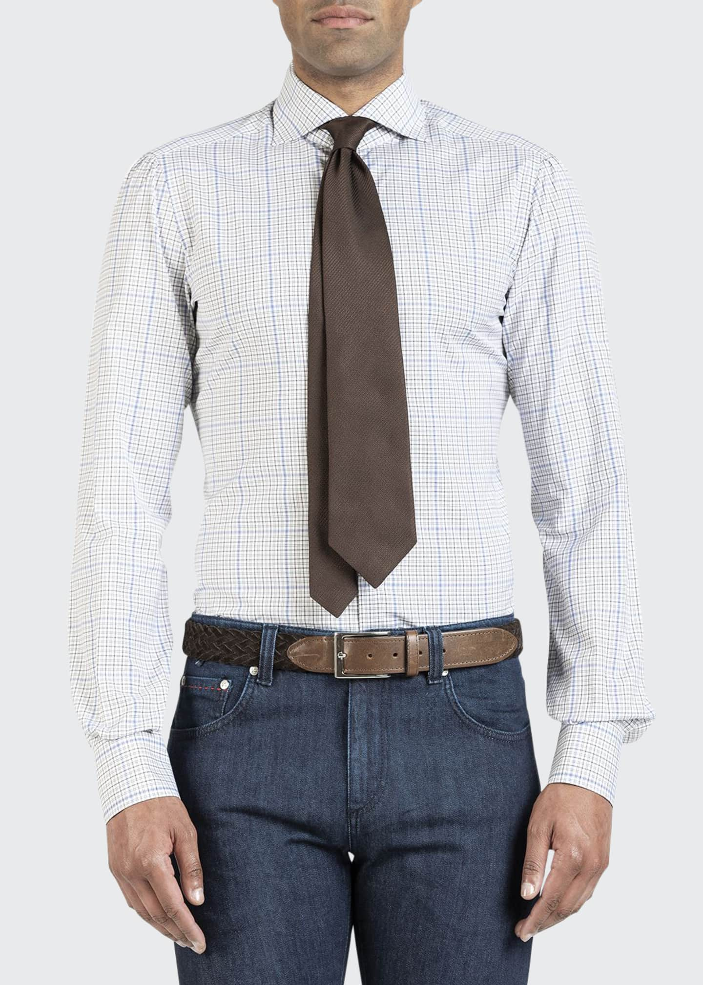 Image 1 of 4: Men's Two-Tone Check Dress Shirt