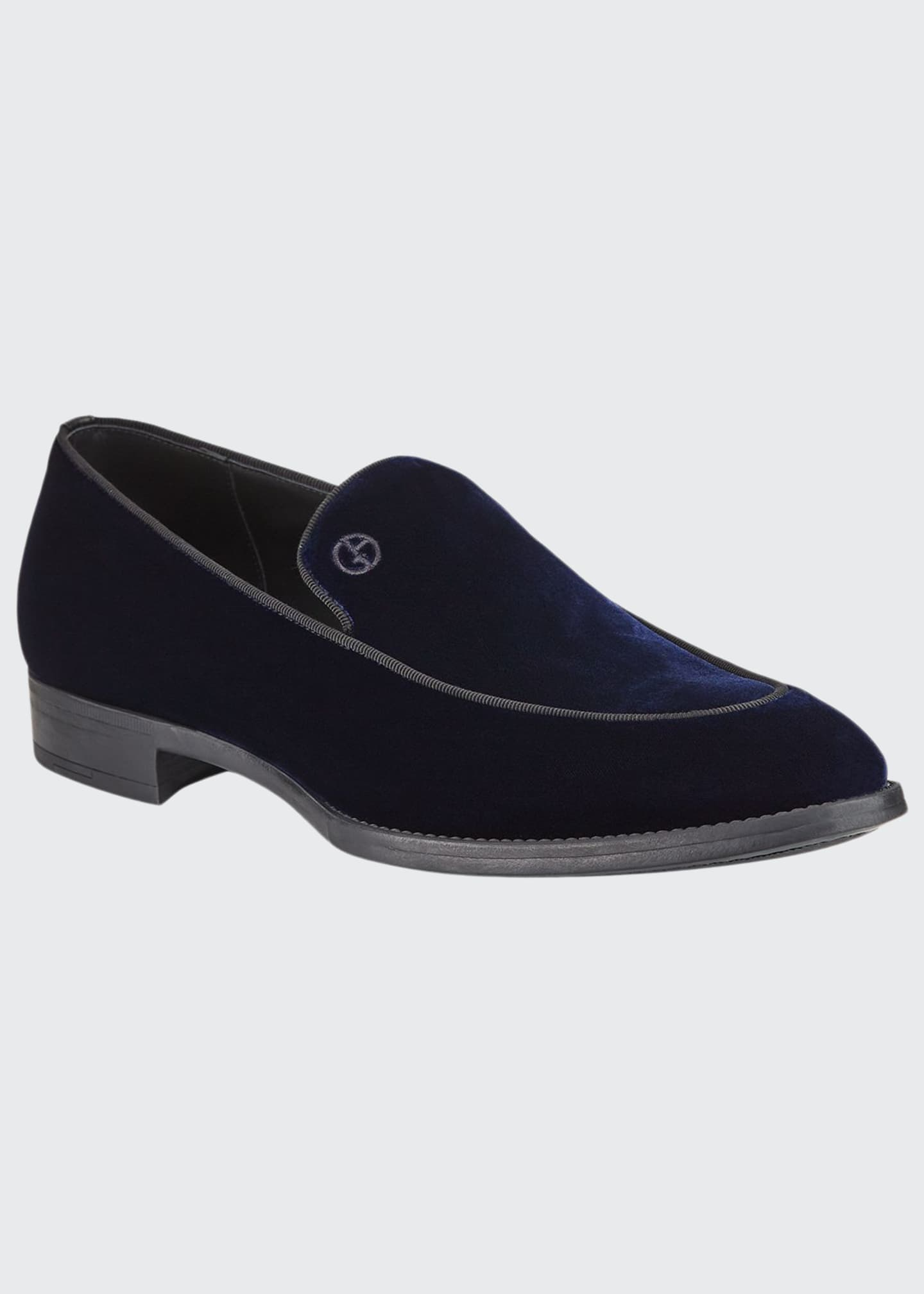 Image 1 of 3: Men's Velvet Formal Loafers, Navy