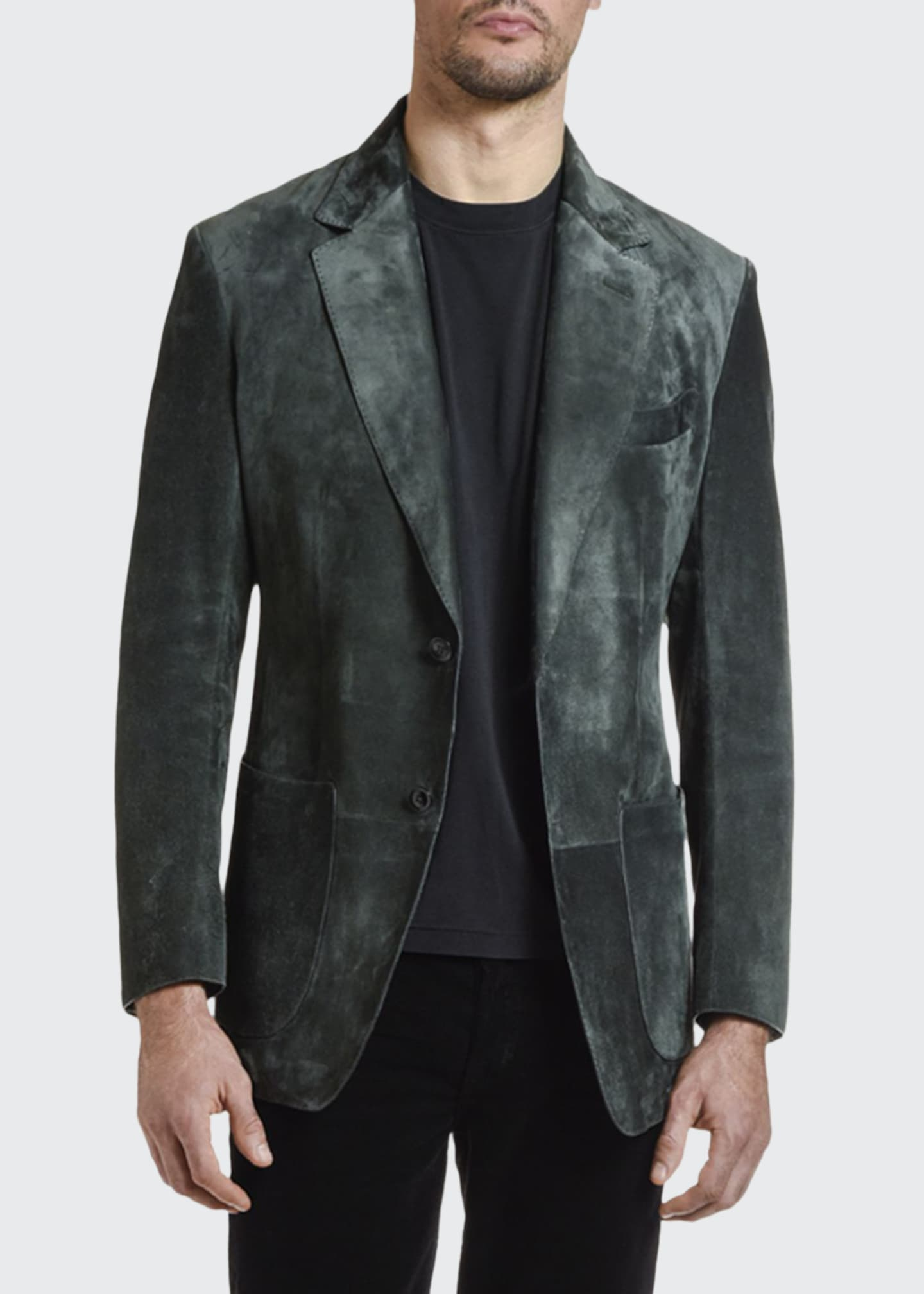 Image 1 of 4: Men's Suede Two-Button Jacket