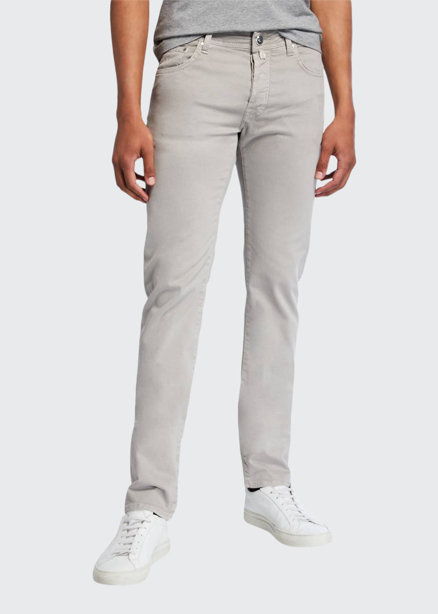 Image 1 of 3: Men's Brushed Denim 5-Pocket Jeans , Light Gray