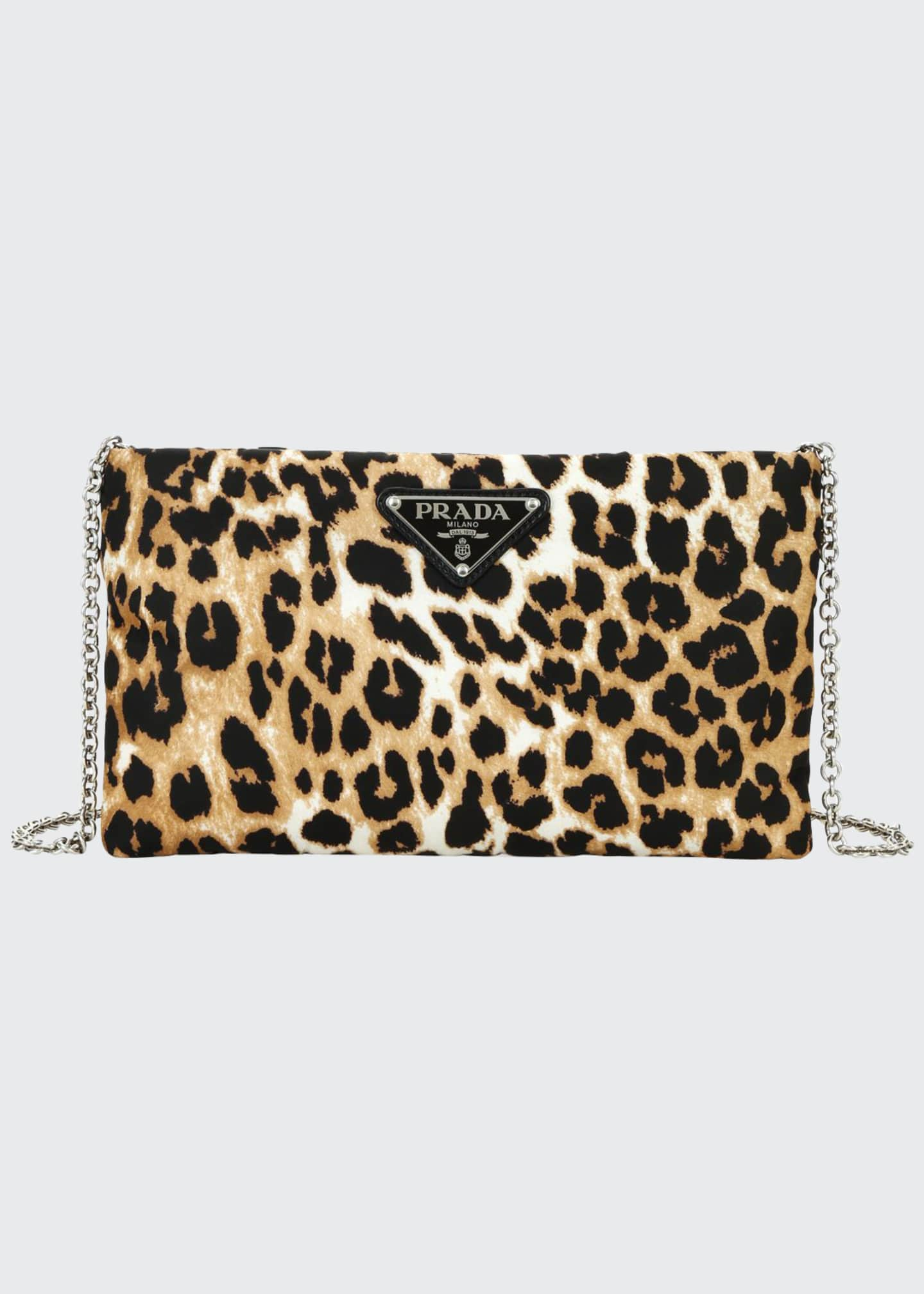Prada Small Tessuto Soft Leopard Clutch